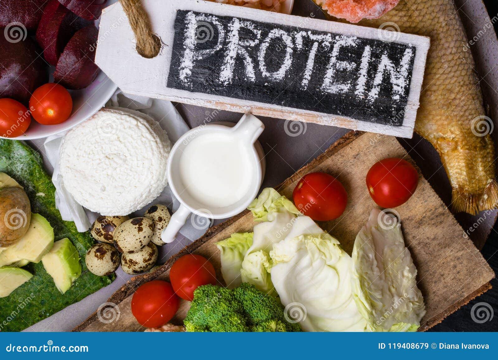 Wysoka - proteinowy jedzenie - ryba, mięso, denna podrożec, garnele, jajka, kapusta, burak, brokuły, szpinak, pomidory, avokado,