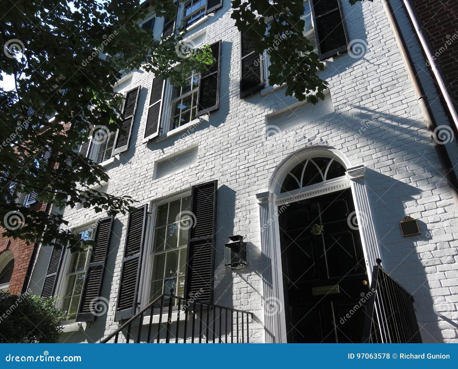 Wysoki Biały cegła dom w Georgetown washington dc