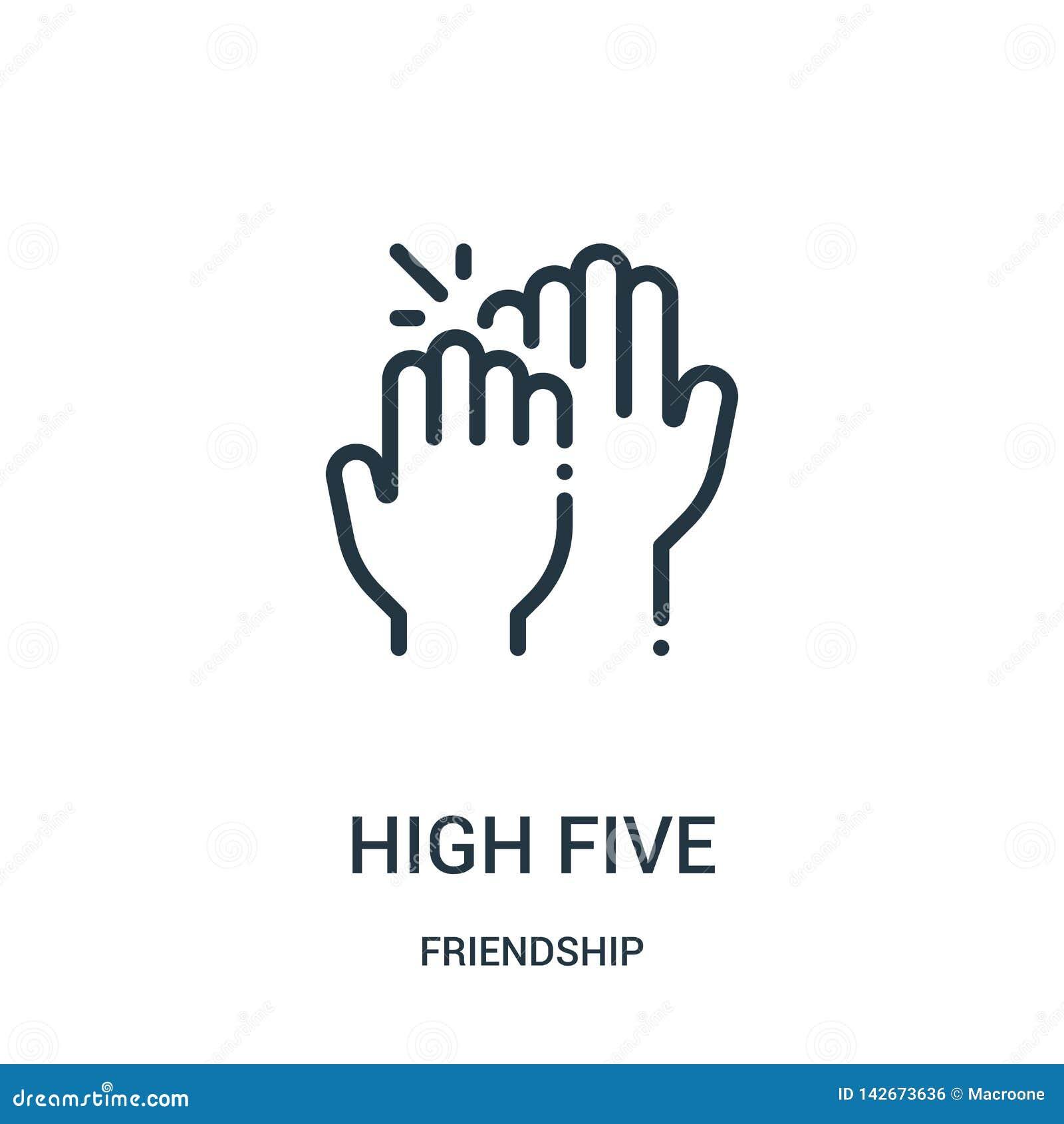Wysoki pięć ikon wektor od przyjaźni kolekcji Cienka kreskowa wysokość pięć zarysowywa ikona wektoru ilustrację Liniowy symbol dl