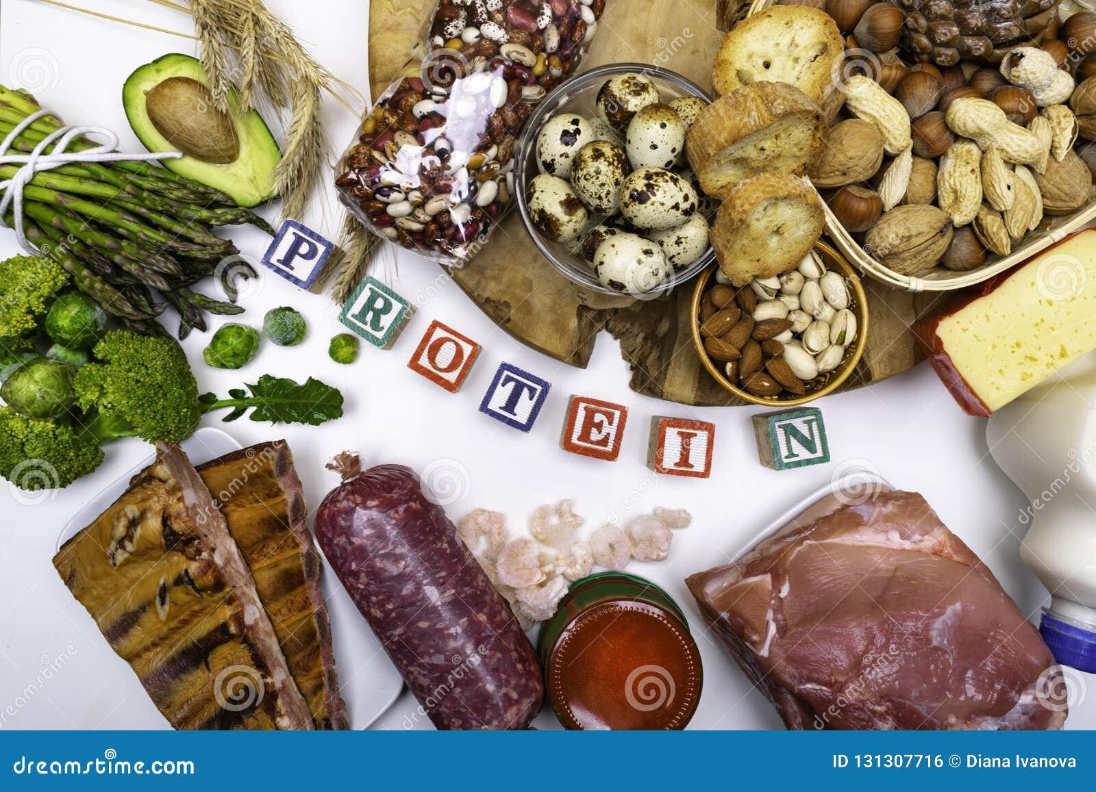 Wysoki - proteinowi foods Odgórnego widoku łasowania Zdrowy pojęcie