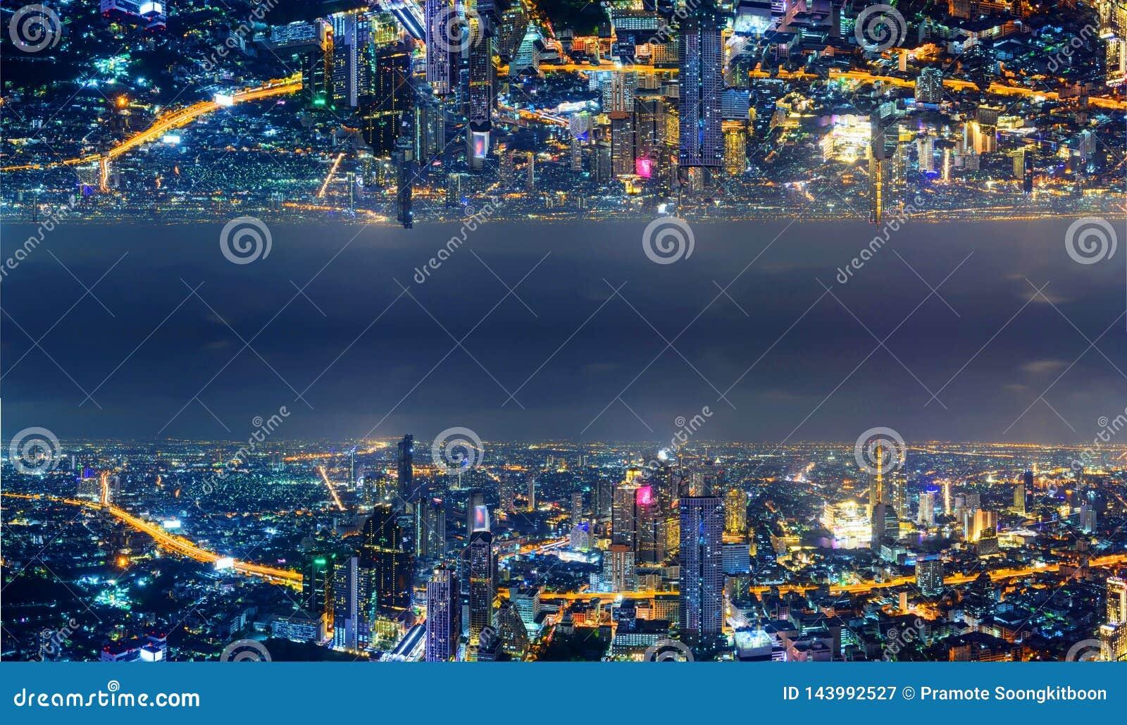 Wysoki widok miasto z zboczeniec strony procesem s