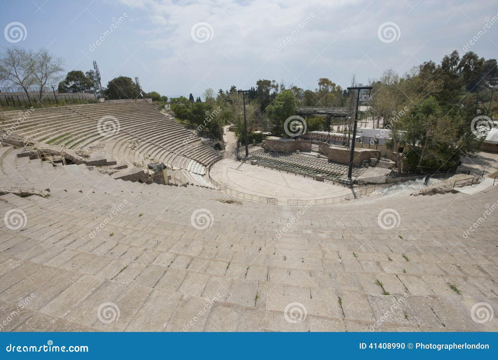 Wysokiego kąta widok rzymski amfiteatr, Tunis, Tunezja