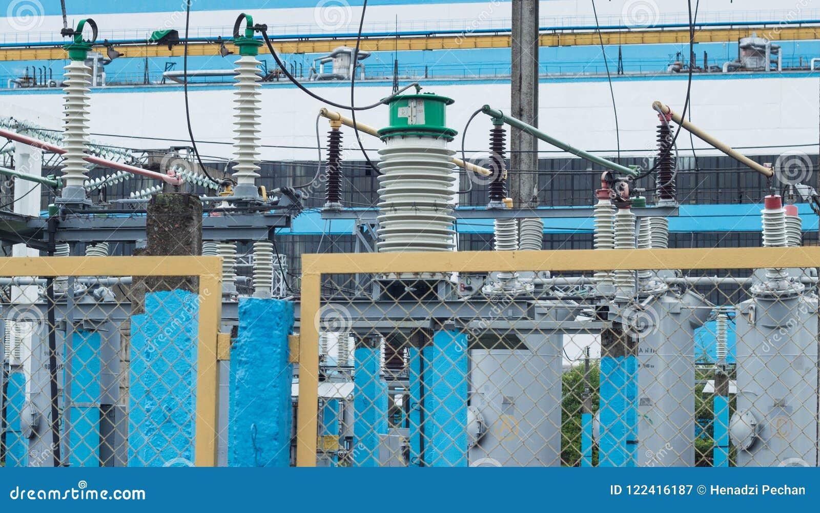 Wysokiego woltażu transformatoru elektryczna stacja, elektrownia