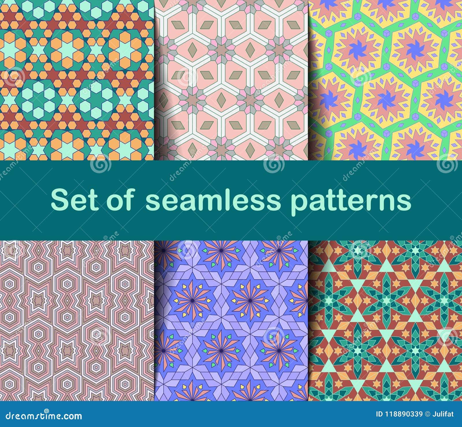 Wysokiej jakości kolorowa tapeta w Islamskim lub Arabskim stylu Bezszwowi azjata wzory dla tło i zaproszeń Girih język arabski