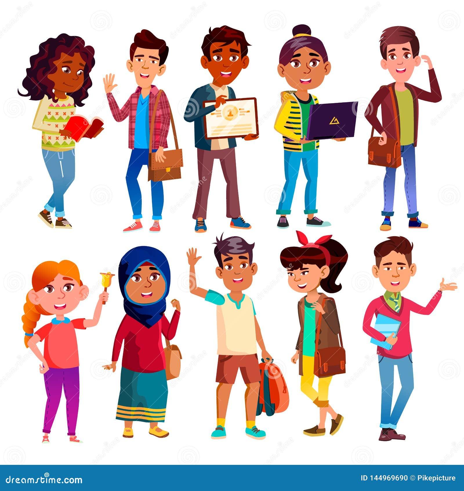 Wysokiej szkoły ucznie, nastolatek Wektorowe postacie z kreskówki Ustawiać