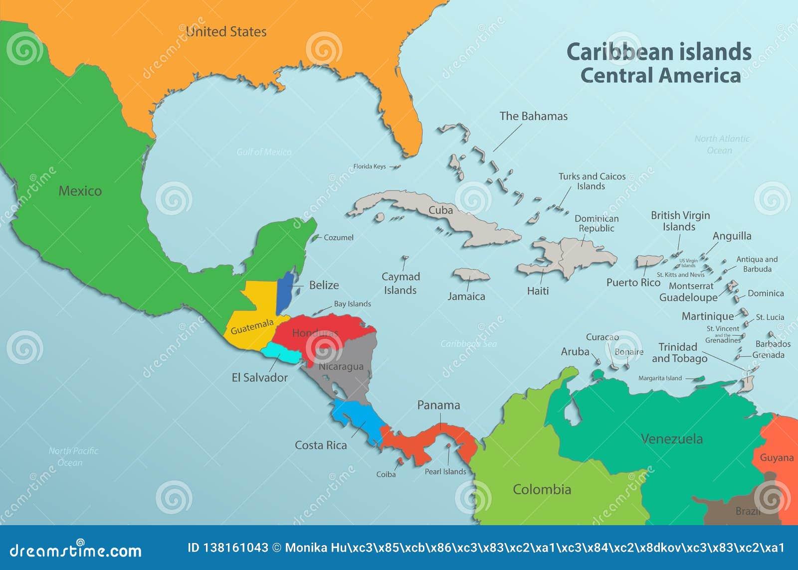 Wyspy Karaibskiej Ameryka Srodkowa Mapy Stanu Imion Karta Barwi 3d