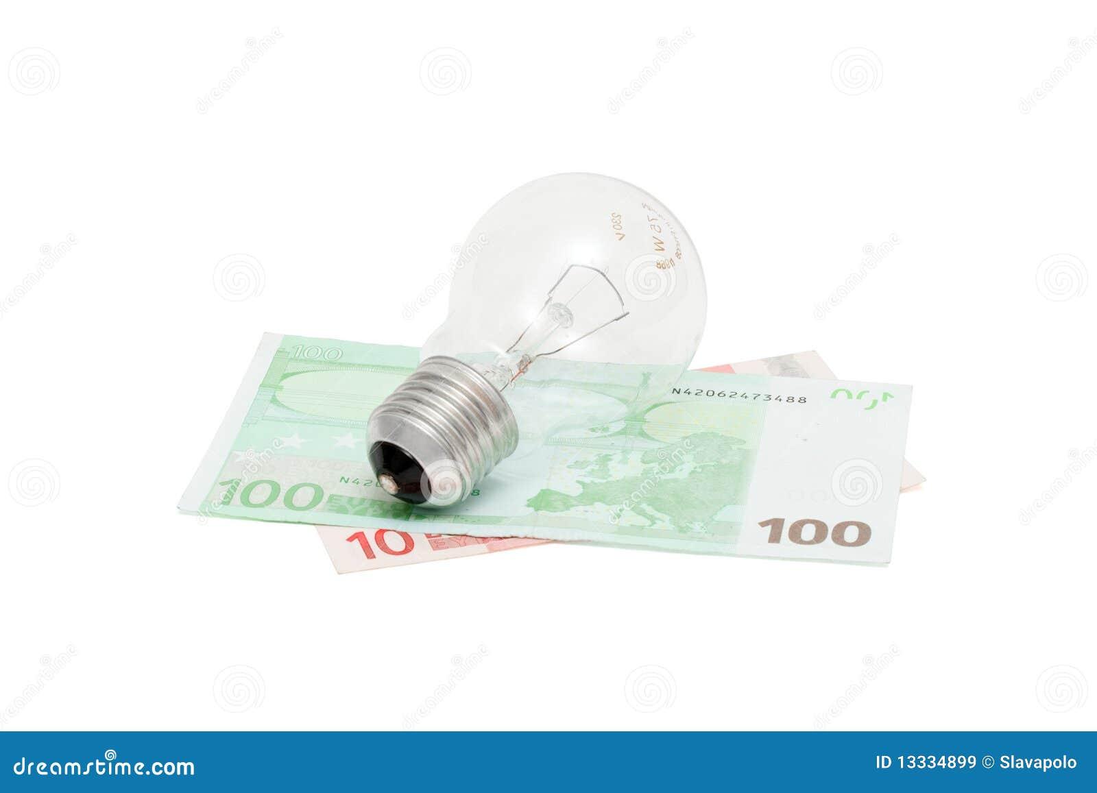 Wystawia rachunek odizolowywającego elektrycznego żarówka euro