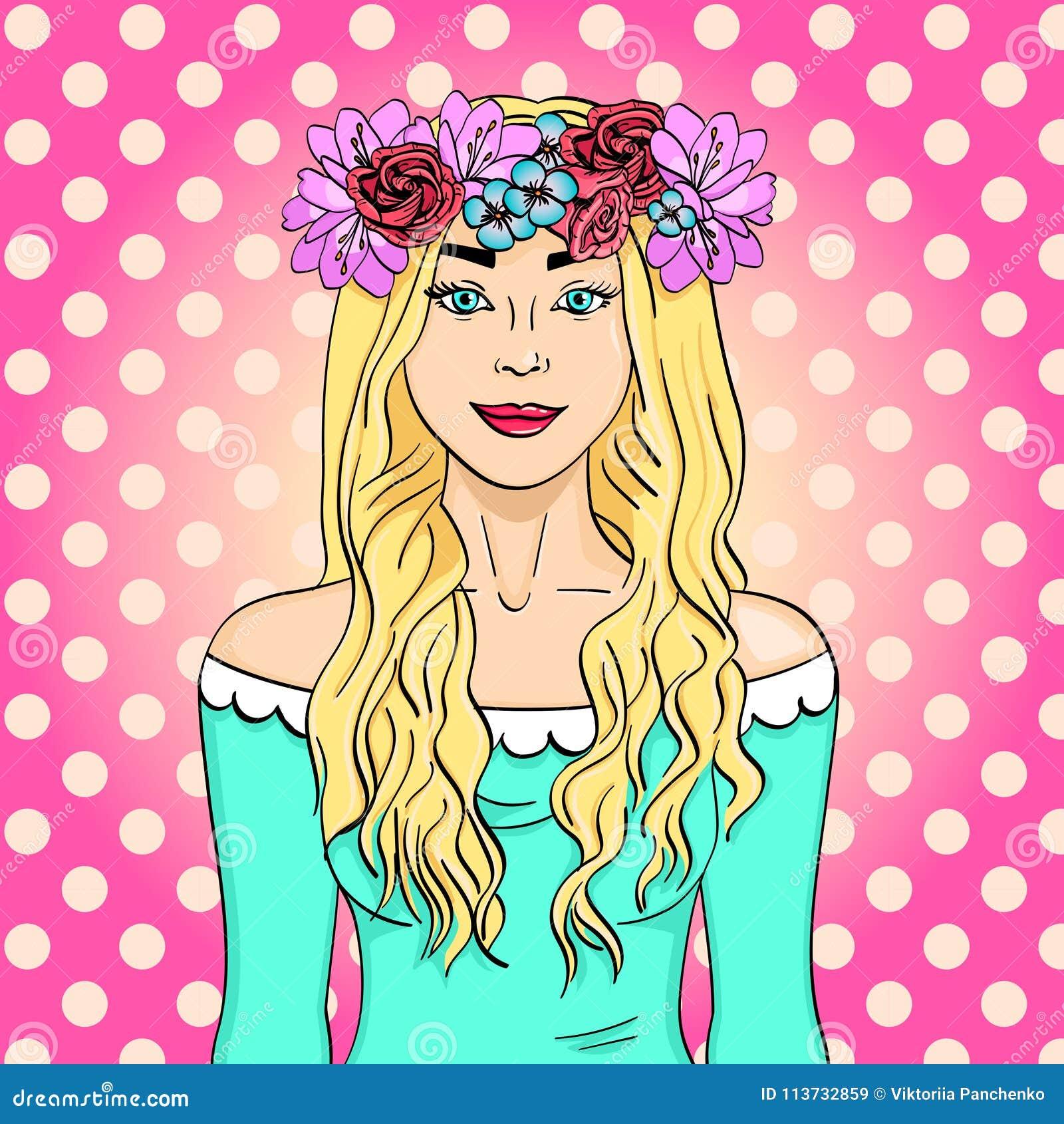 Wystrzał sztuka piękna i młoda dziewczyna, blondynka Wianek na głowie z bukietem kwiaty Komiks stylowa imitacja