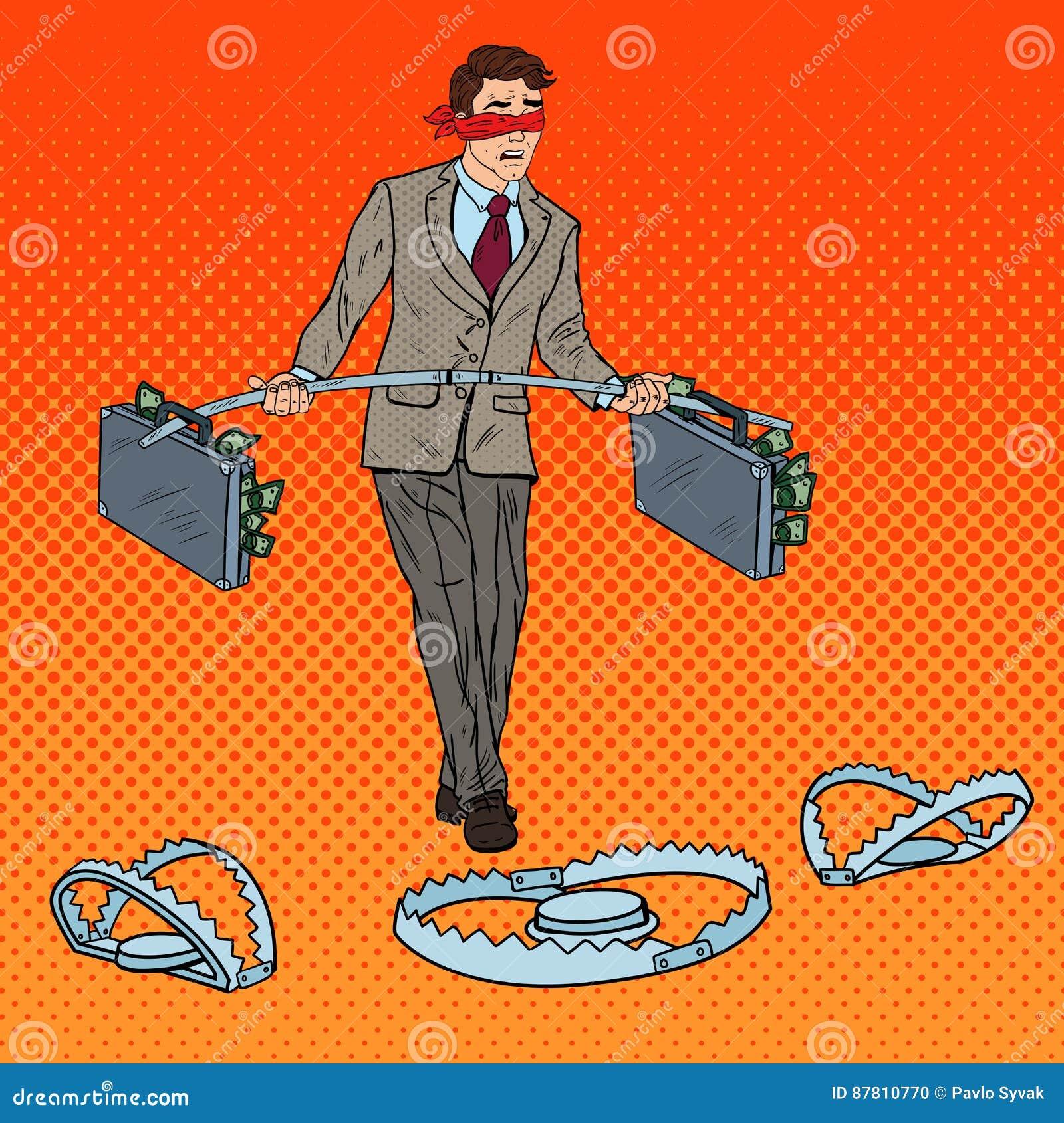 Wystrzał sztuki biznesmena Z zasłoniętymi oczami odprowadzenie z pieniądze Nad oklepami Inwestorski ryzyko