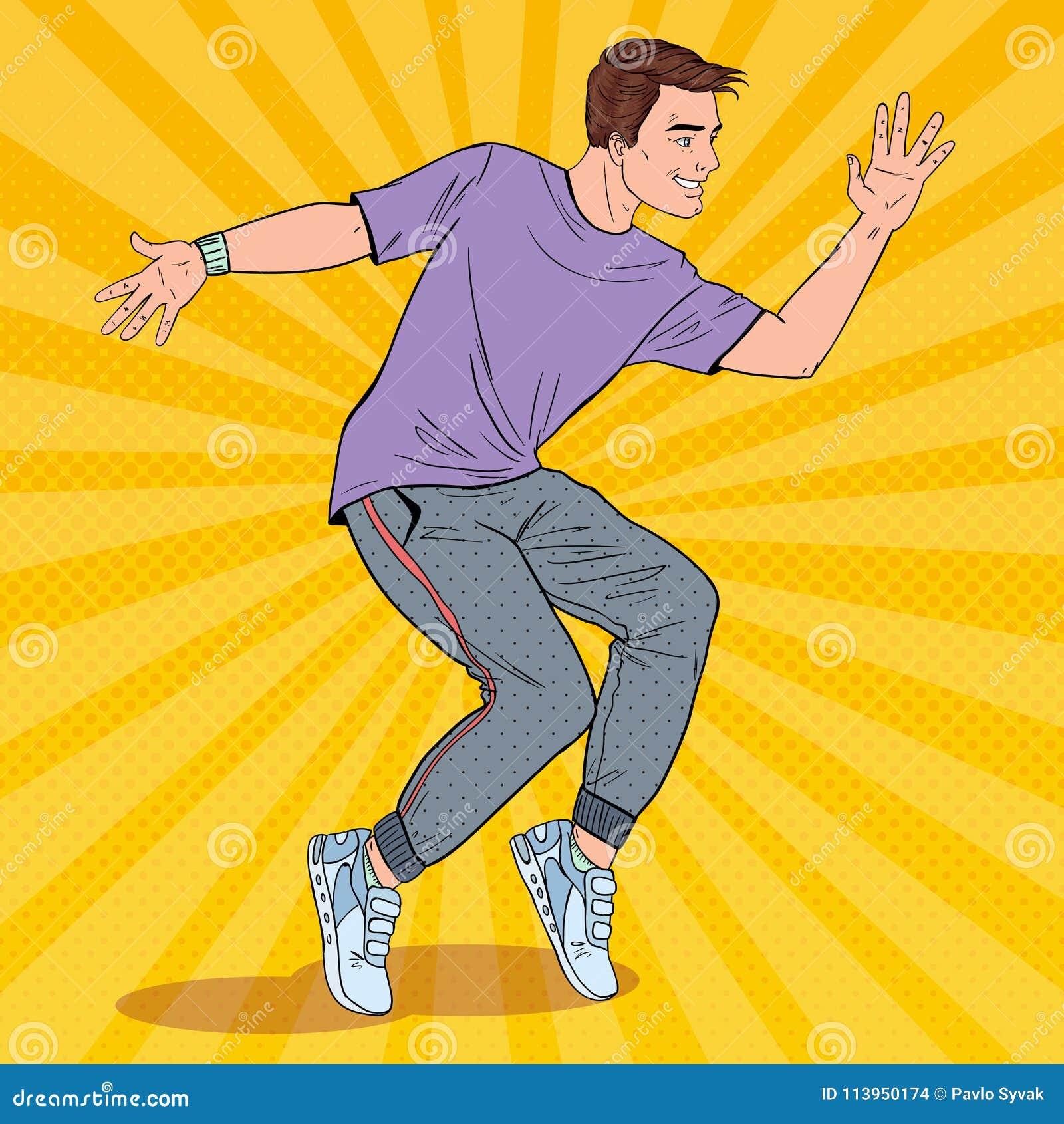 Wystrzał sztuki Hip Hop Przystojny Młody tancerz Radosny faceta taniec