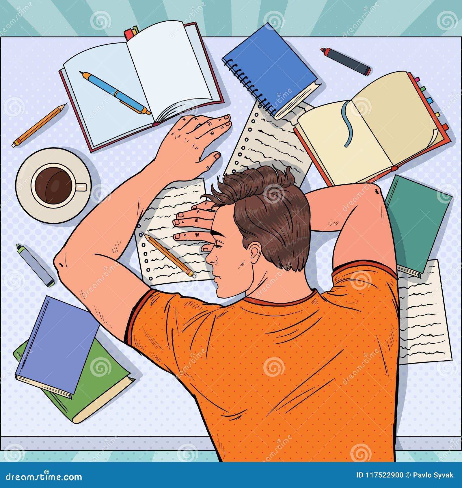 Wystrzał sztuki Męskiego ucznia Skołowany dosypianie na biurku z podręcznikami Zmęczony mężczyzna narządzanie dla egzaminu