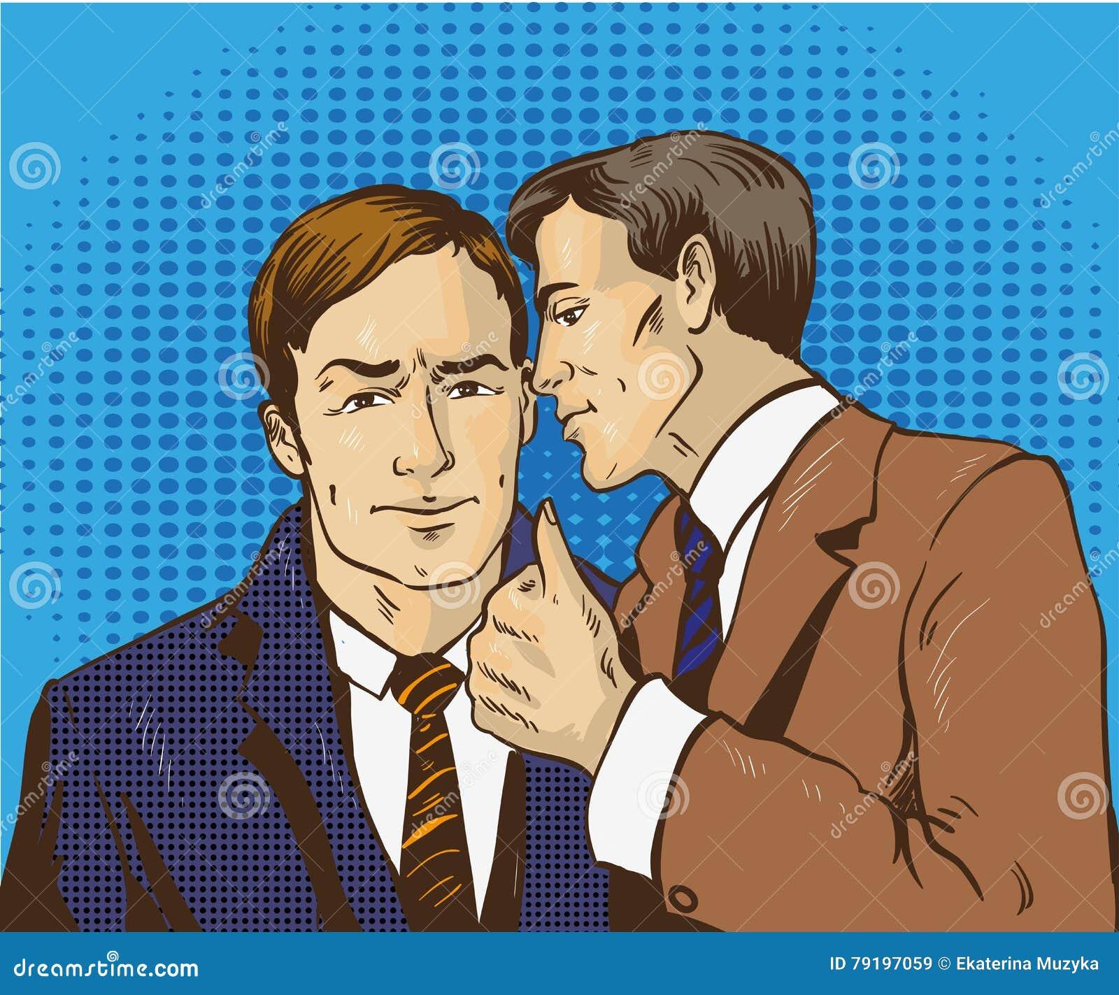Wystrzał sztuki retro komiczna wektorowa ilustracja Dwa biznesmenów rozmowa each inny Mężczyzna mówi biznesowemu sekretowi jego p