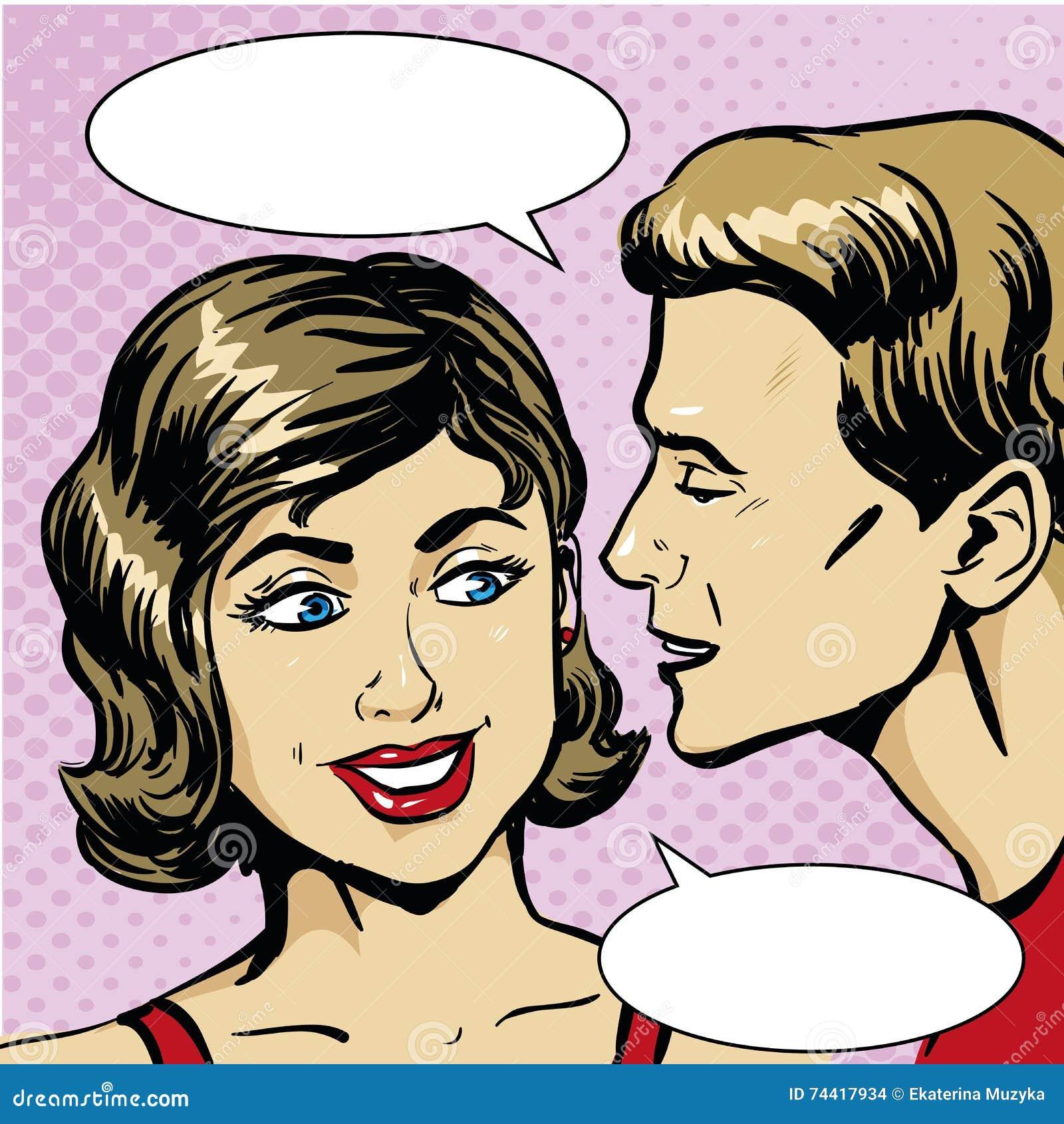 Wystrzał sztuki retro komiczna wektorowa ilustracja Mężczyzna szepcze plotki lub sekretu kobieta bąbla graficznej osoby mowy targ