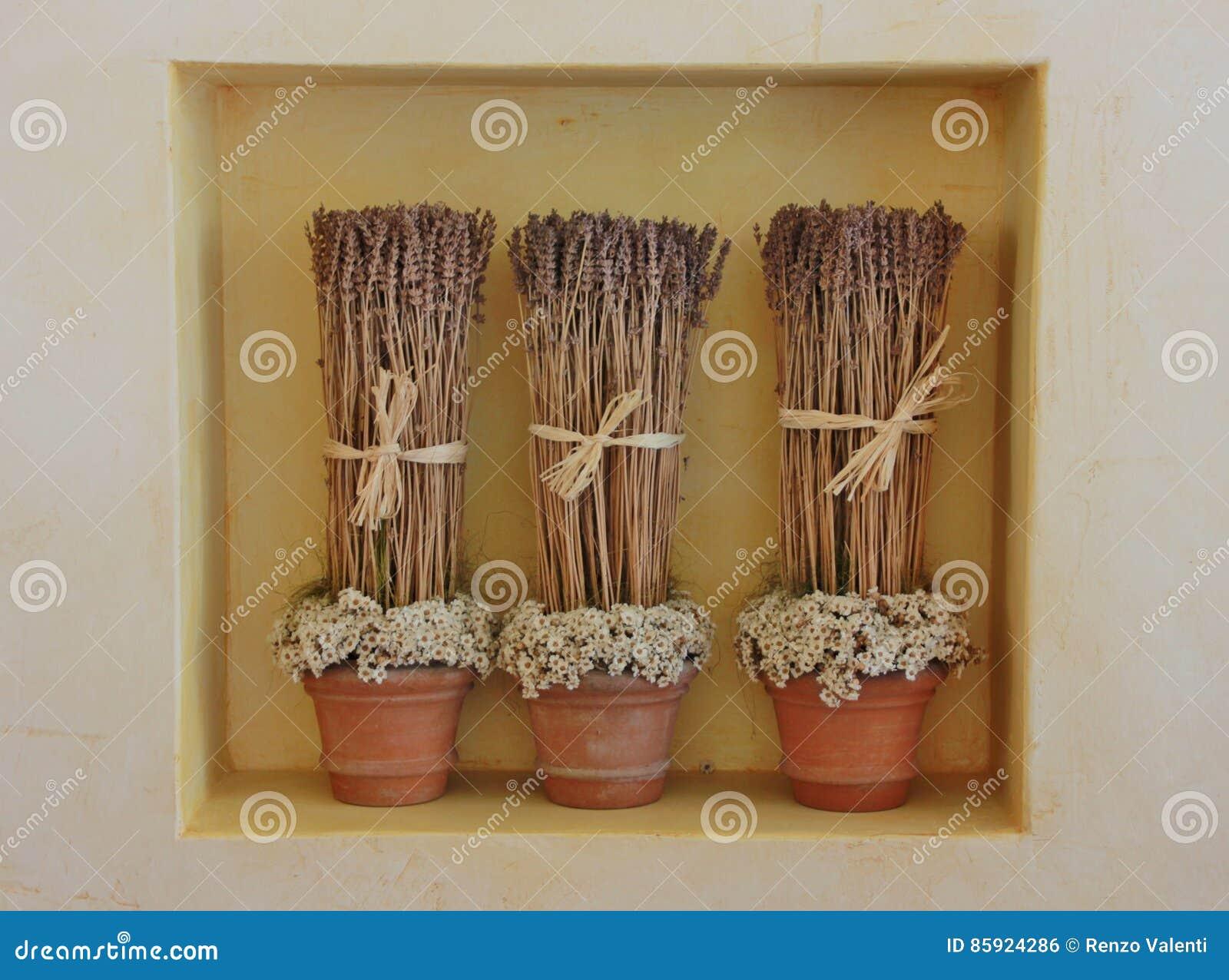 Wysuszona lawenda kwitnie w trzy wazach