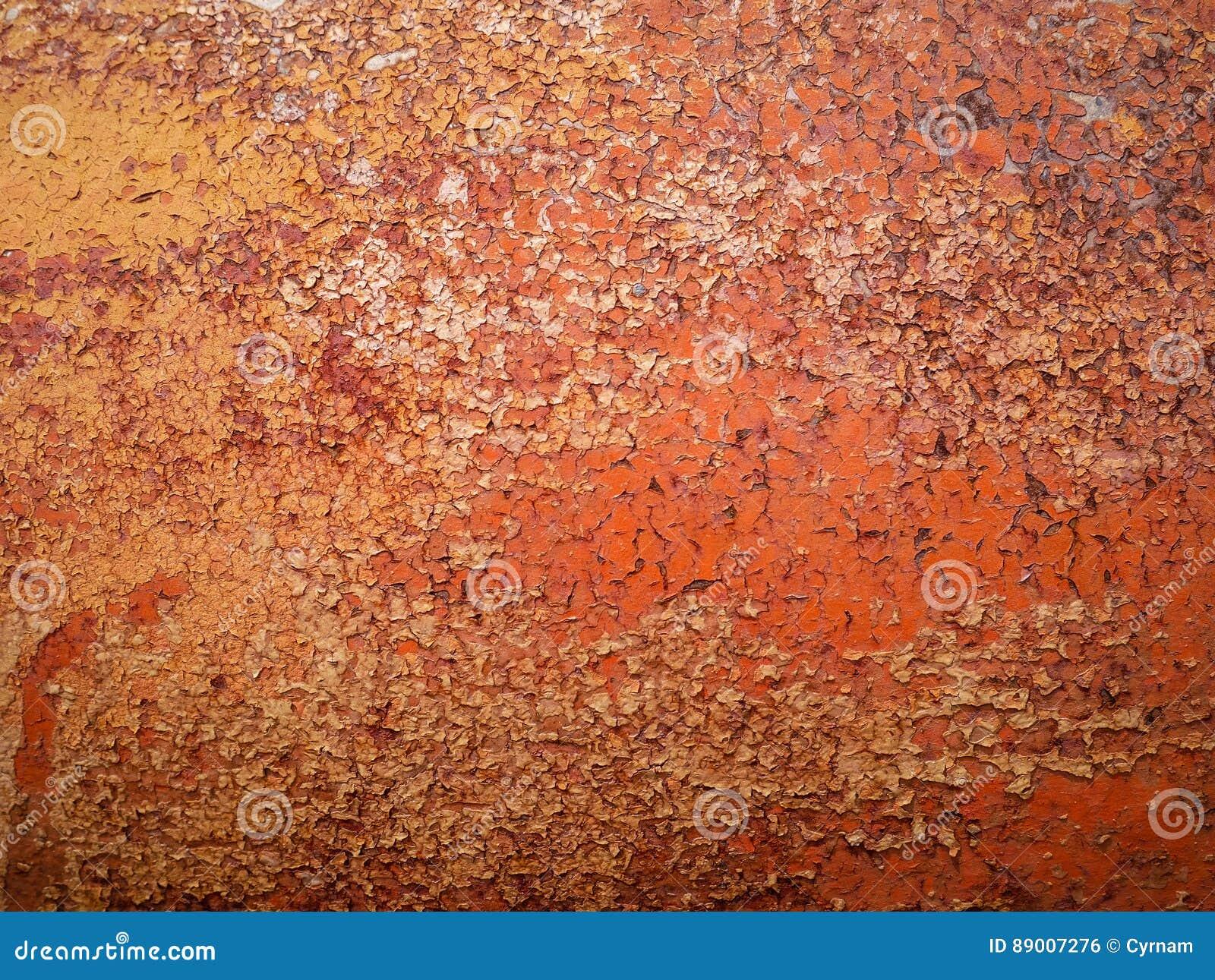 Wyszczególnia up i zamyka rdza na samochodowym metalu z łupaniem, obecnością rdza i korodowaniem, piękny abstrakcjonistyczny tło