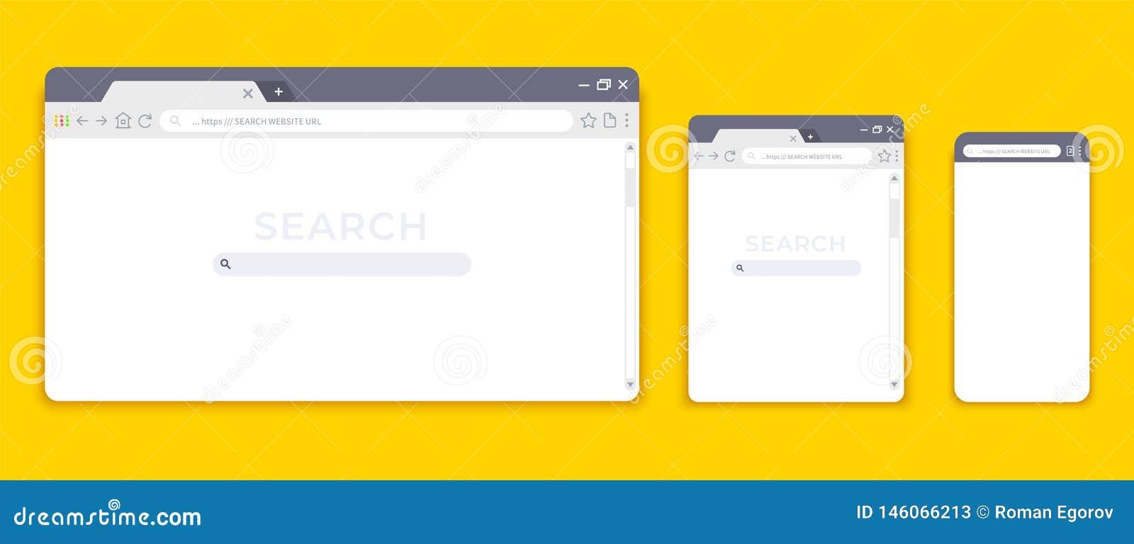 Wyszukiwarek mockups Strona internetowa interfejs dla r??nych przyrz?d?w, pustej laptop pastylki i wisz?ca ozdoba interneta stron