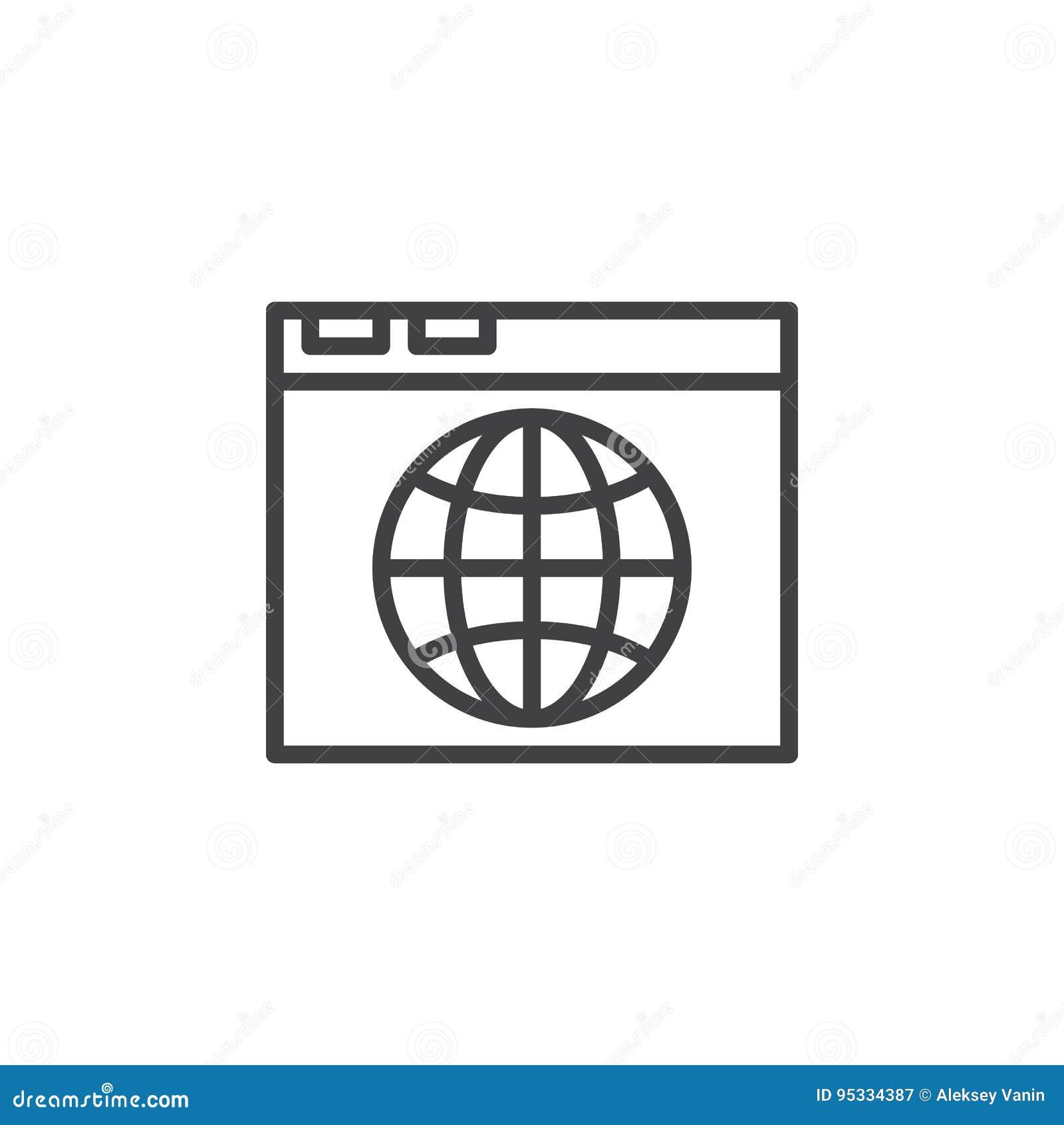 Wyszukiwarki i kuli ziemskiej kreskowa ikona, konturu wektoru znak, liniowy stylowy piktogram odizolowywający na bielu