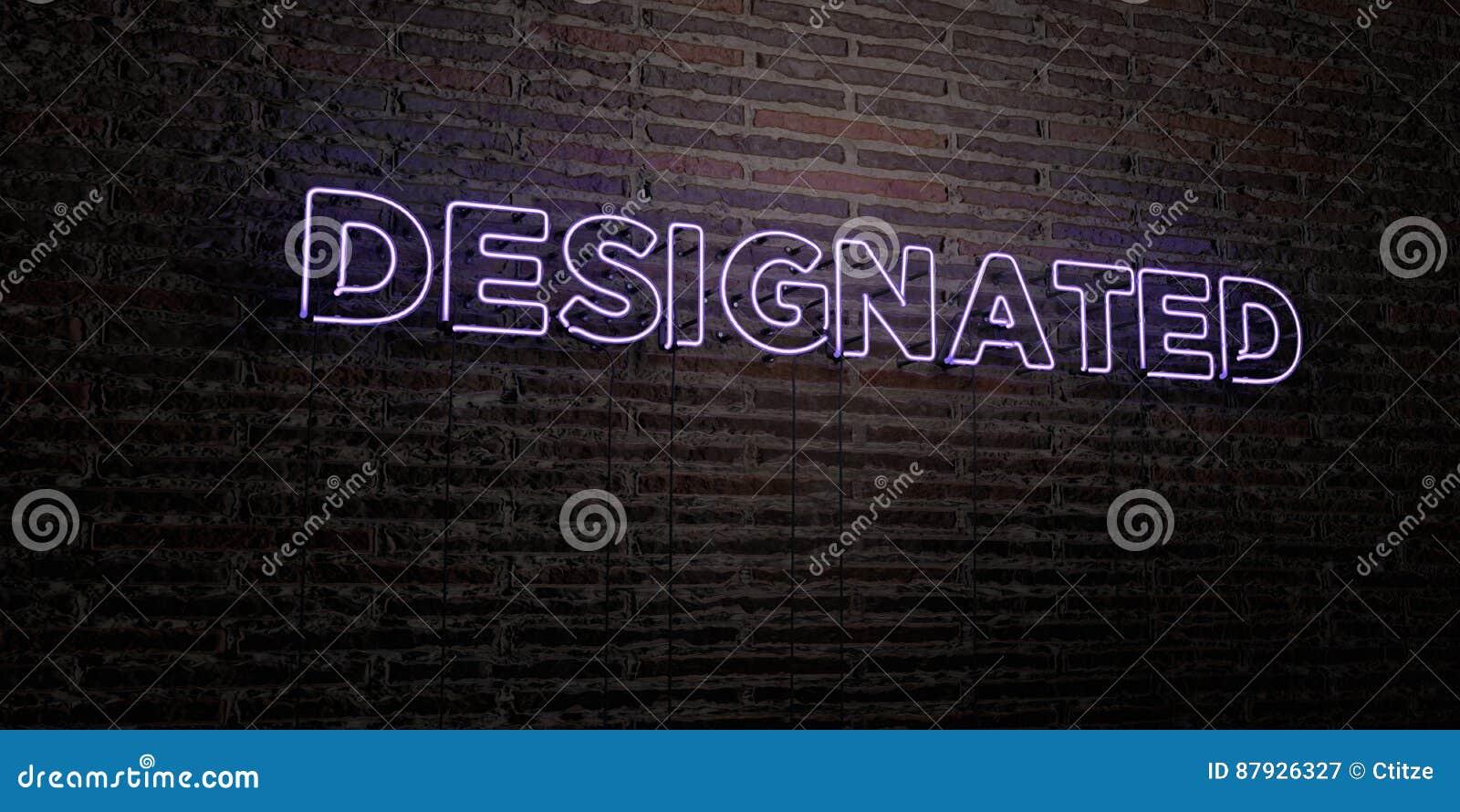 WYZNACZAJĄCY - Realistyczny Neonowy znak na ściana z cegieł tle - 3D odpłacający się królewskość bezpłatny akcyjny wizerunek