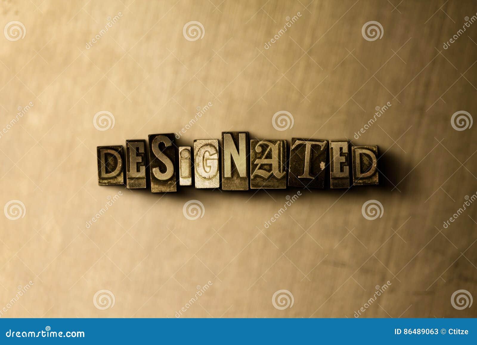 WYZNACZAJĄCY - zakończenie grungy rocznik typeset słowo na metalu tle