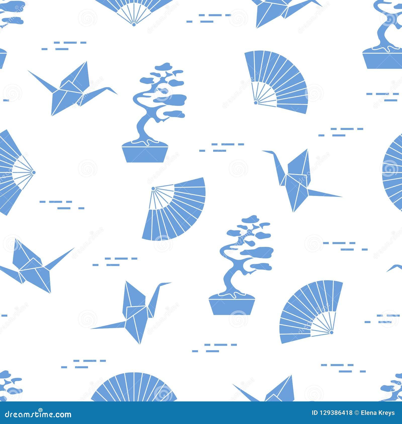 Wzór Bonsai drzewa, origami żurawie, fan
