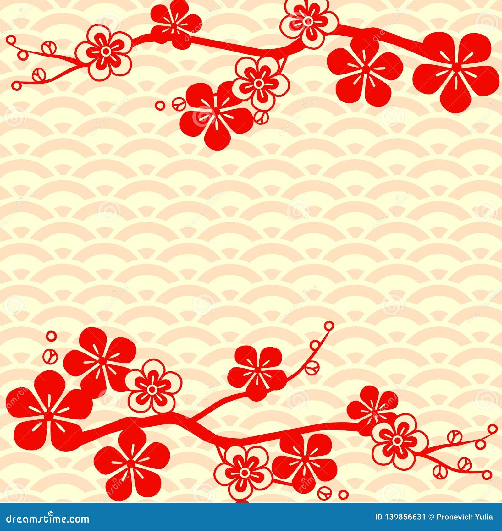 Wzór japońskiego Czereśniowy okwitnięcie Ornament z orientalnymi motywami wektor