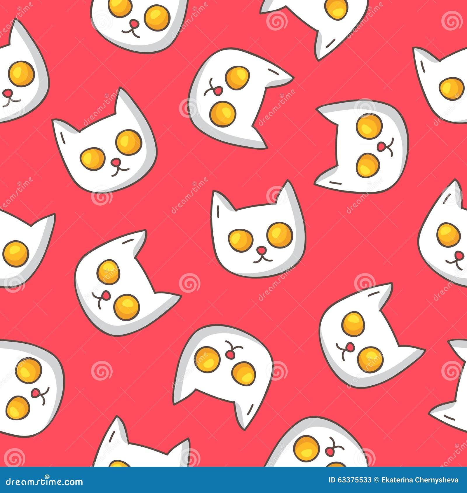 Wzór smażący jajka w formie kota głowy