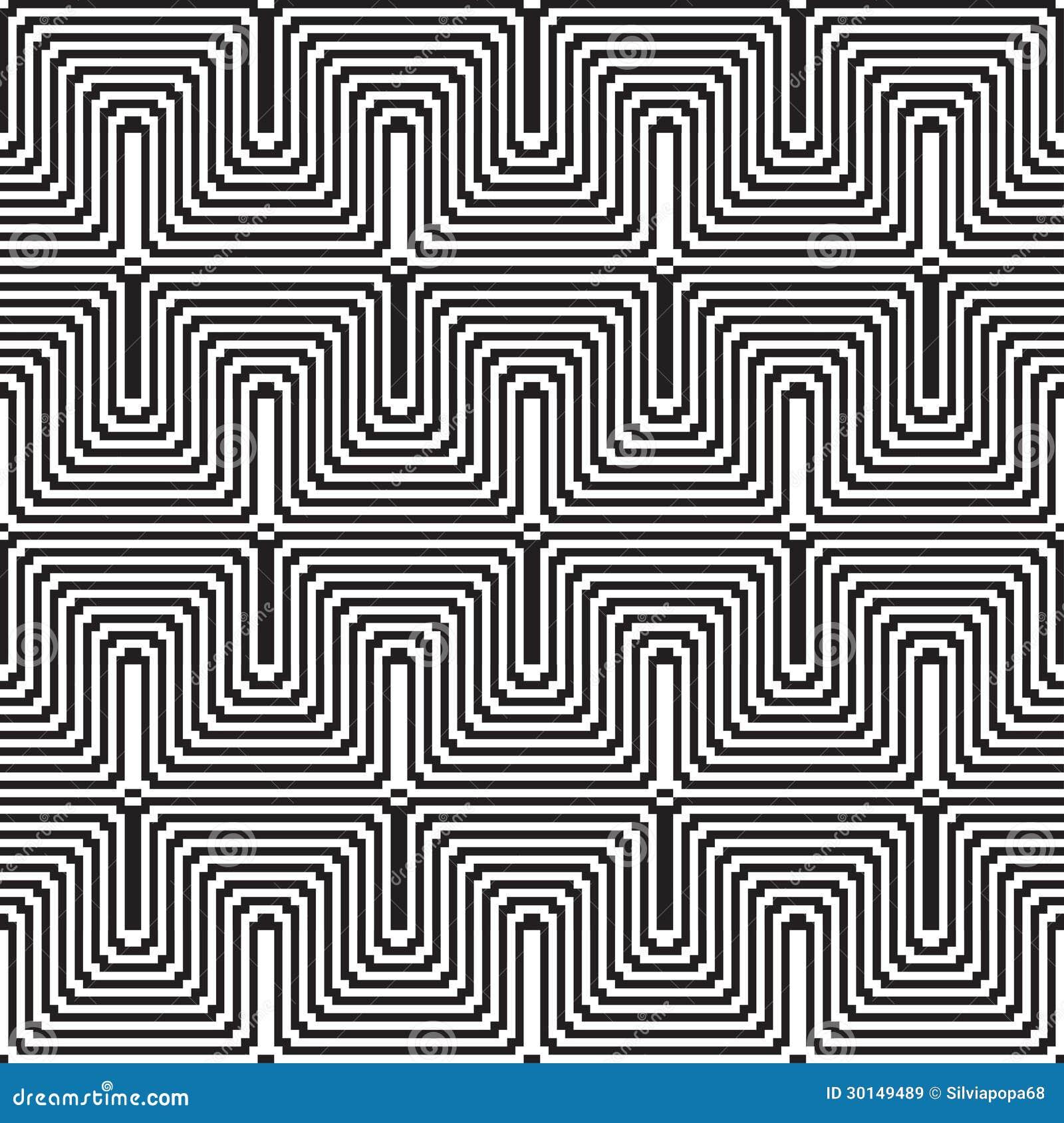 Wzór z kreskowy czarny i biały w zygzag