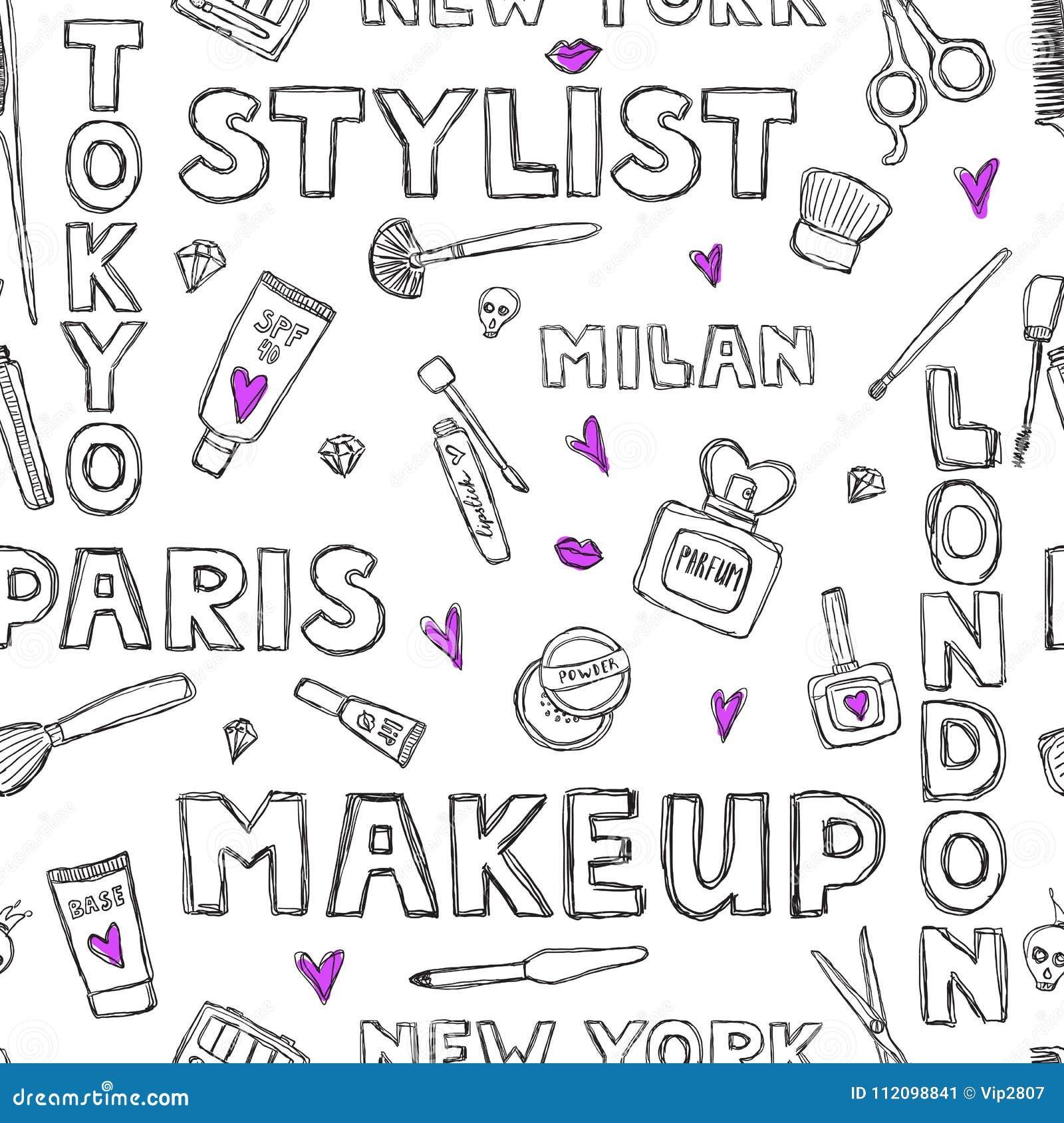 Wzór Z Ręcznie Pisany Słowami O Pięknie Kosmetykach I