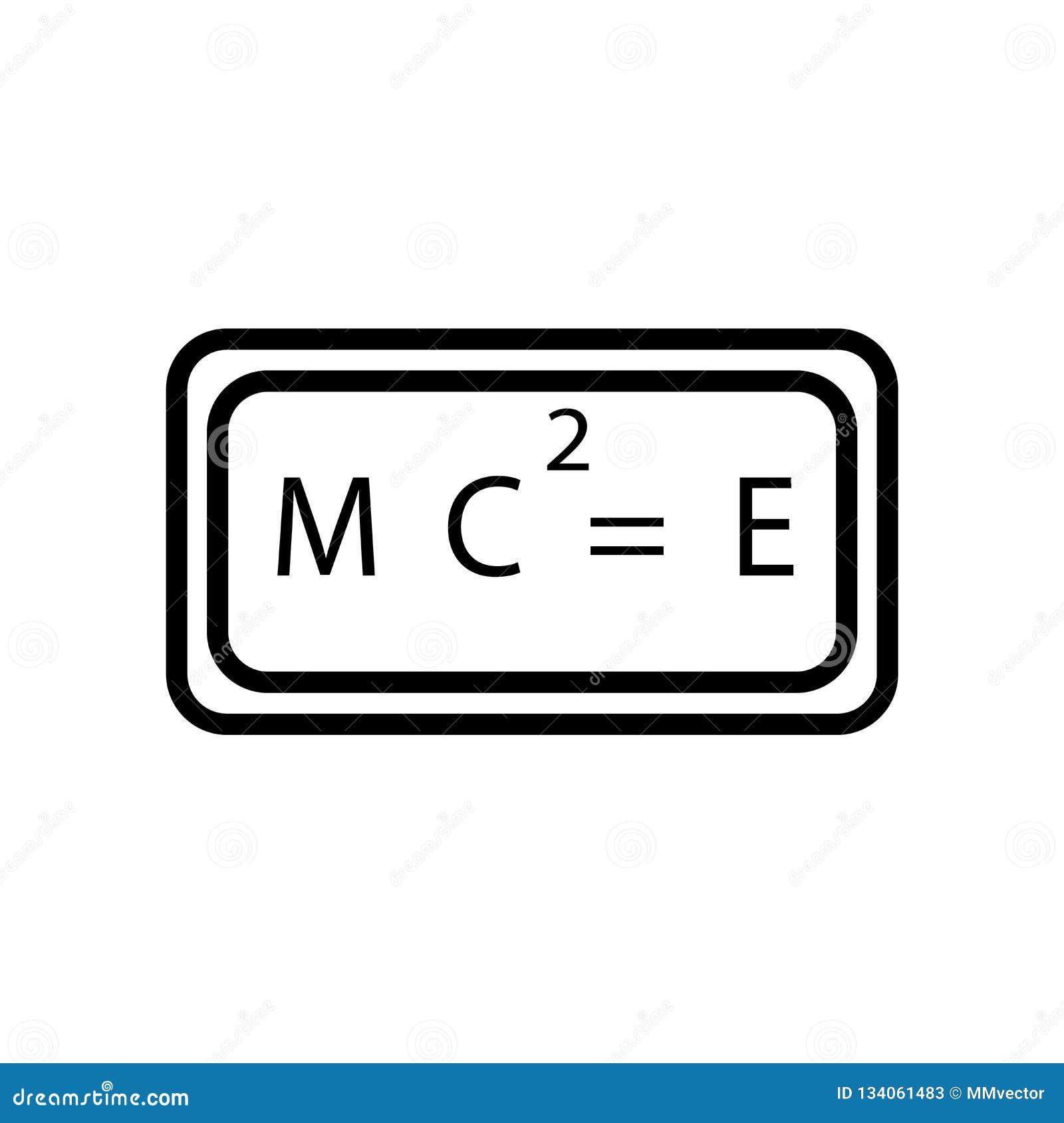 Względność formuł ikony wektor odizolowywający na białym tle, względność formuły podpisuje, liniowy symbol i uderzenie projekta e
