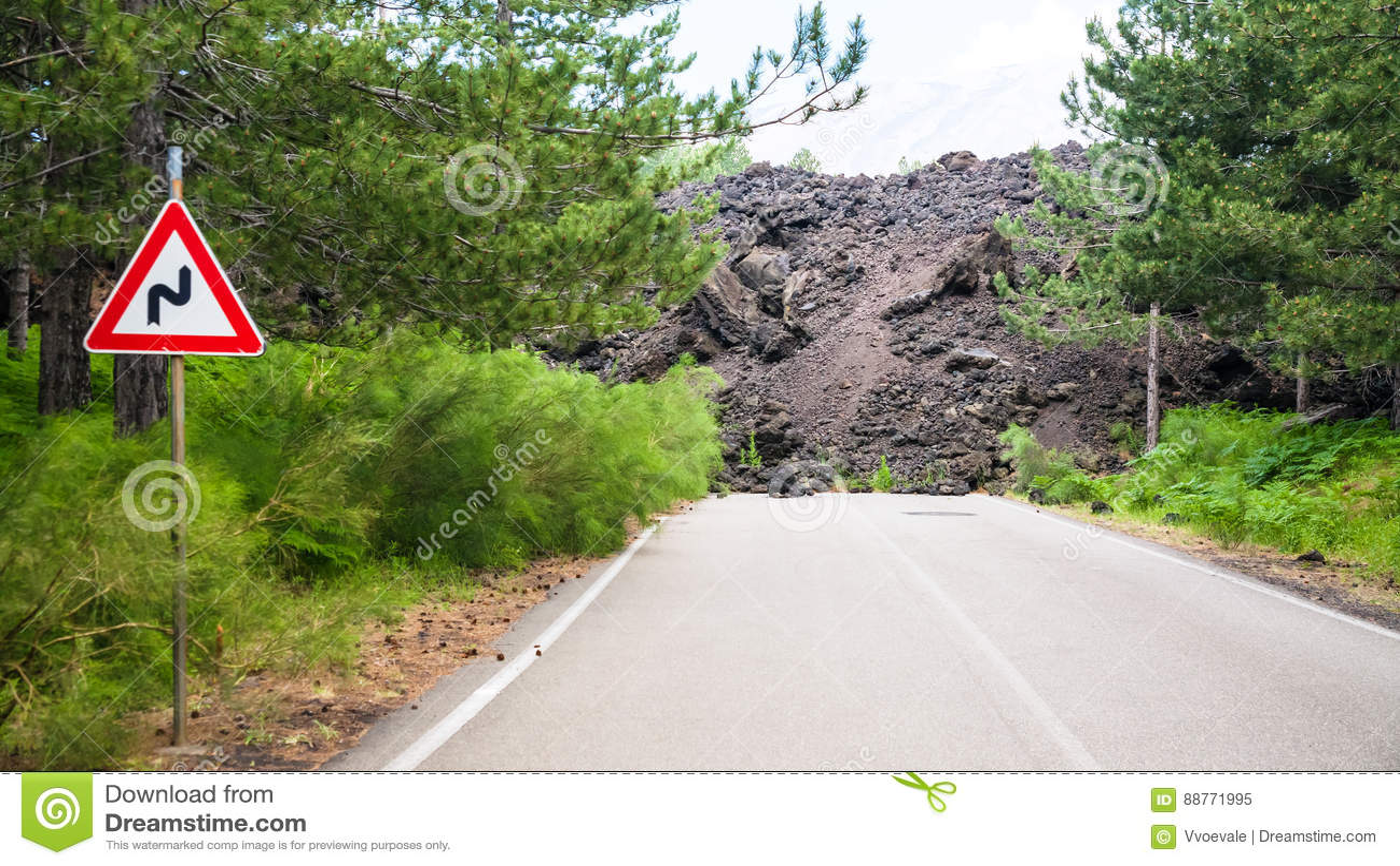 Wzmacniająca lawowego przepływu łamająca droga na skłonie Etna