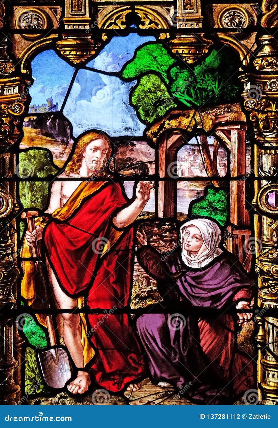 Wzrastający Maryjny Magdalene i Chrystus
