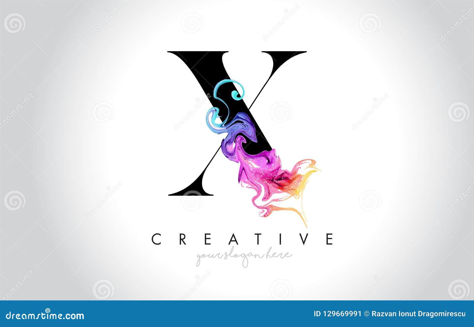X与五颜六色的烟墨水Flo的充满活力的创造性的Leter商标设计