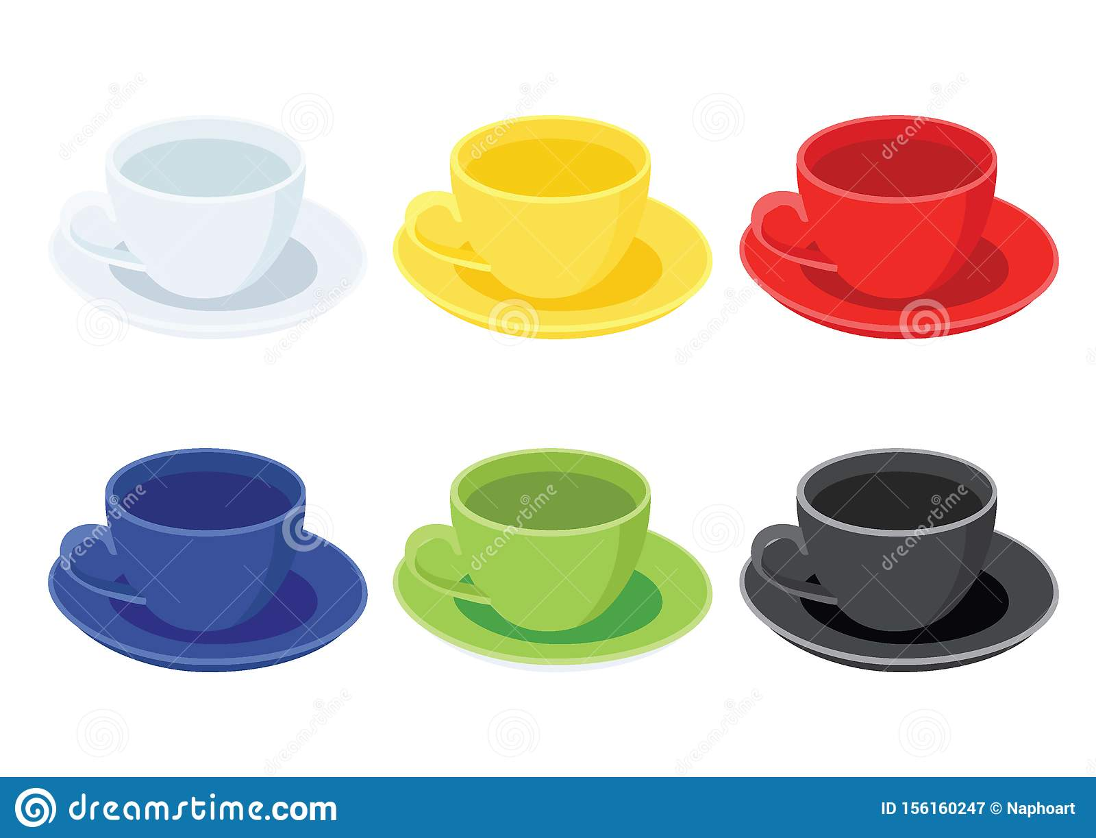 Coffee Cup On Saucer And Many Coffee Cups Multi Color White Yellow Red Blue Green Black Stock Illustration Illustration Of Cafacopy Decoration 156160247