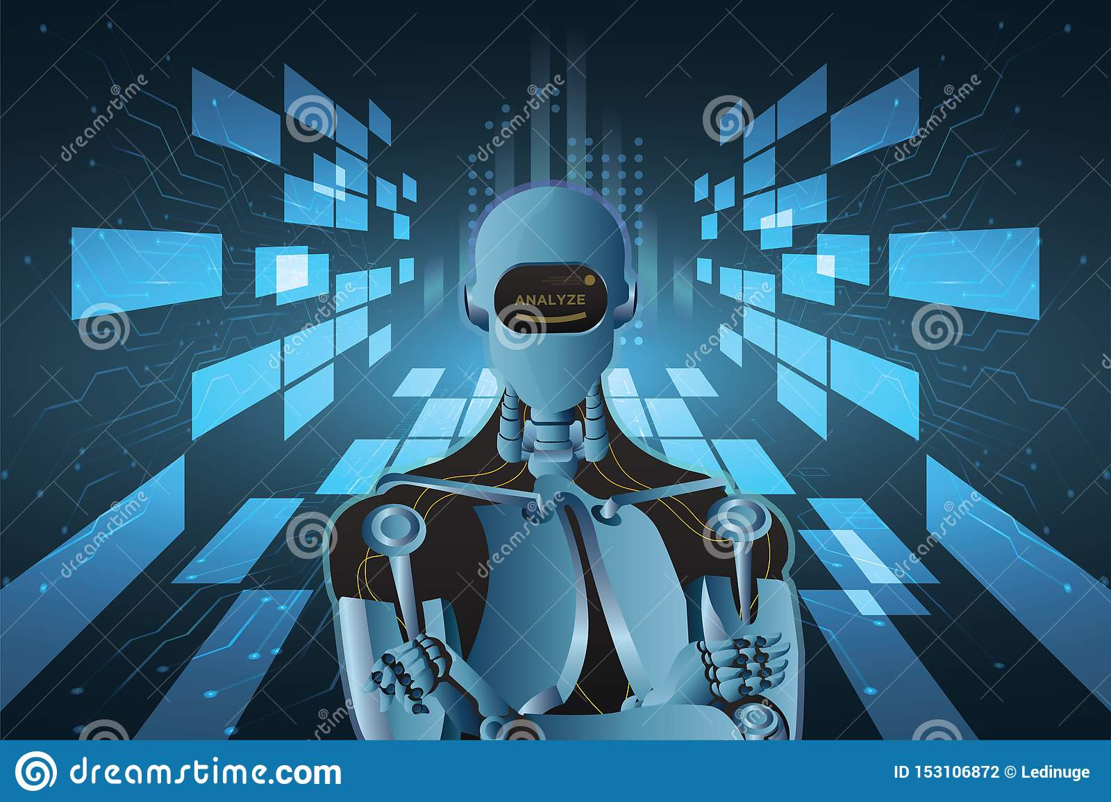 Futuristic Artificial Intelligence Robot Style Abstract Vector Illustration