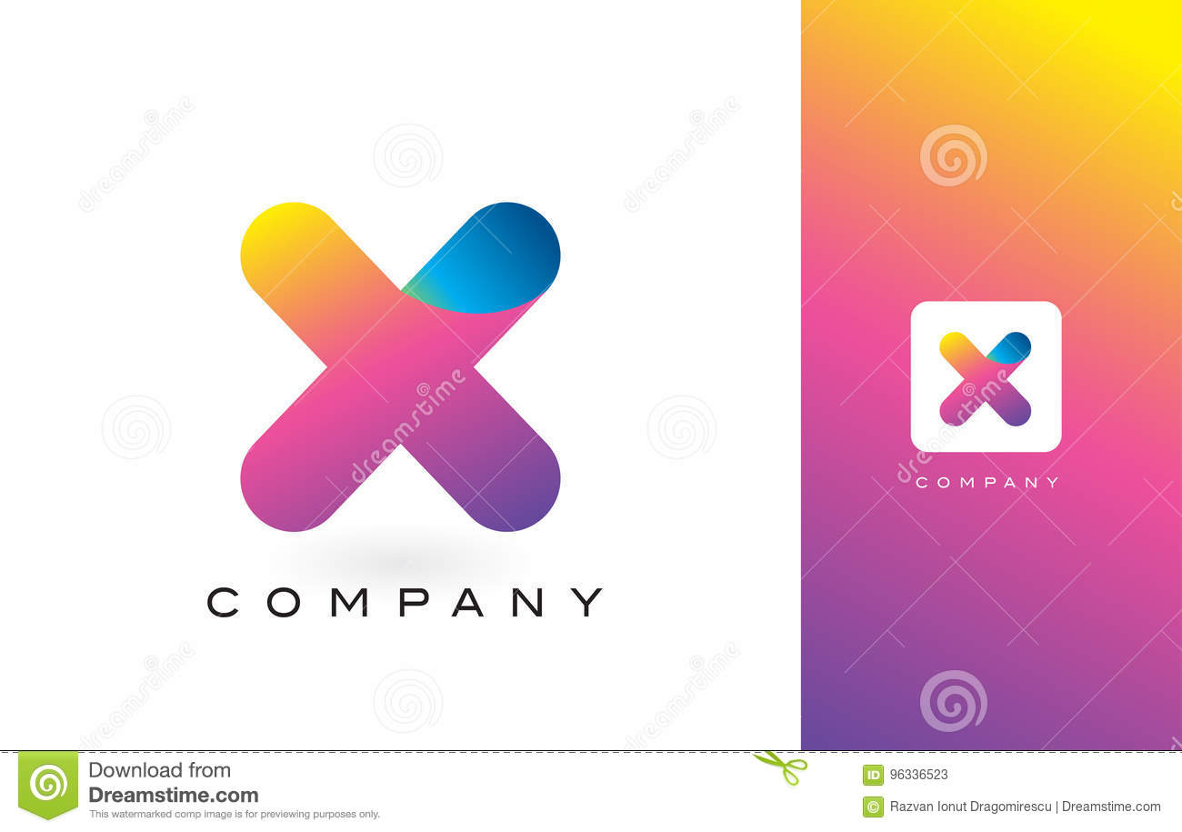 X Logo Letter With Rainbow Vibrant Beautiful Colors.X Colorful T ...
