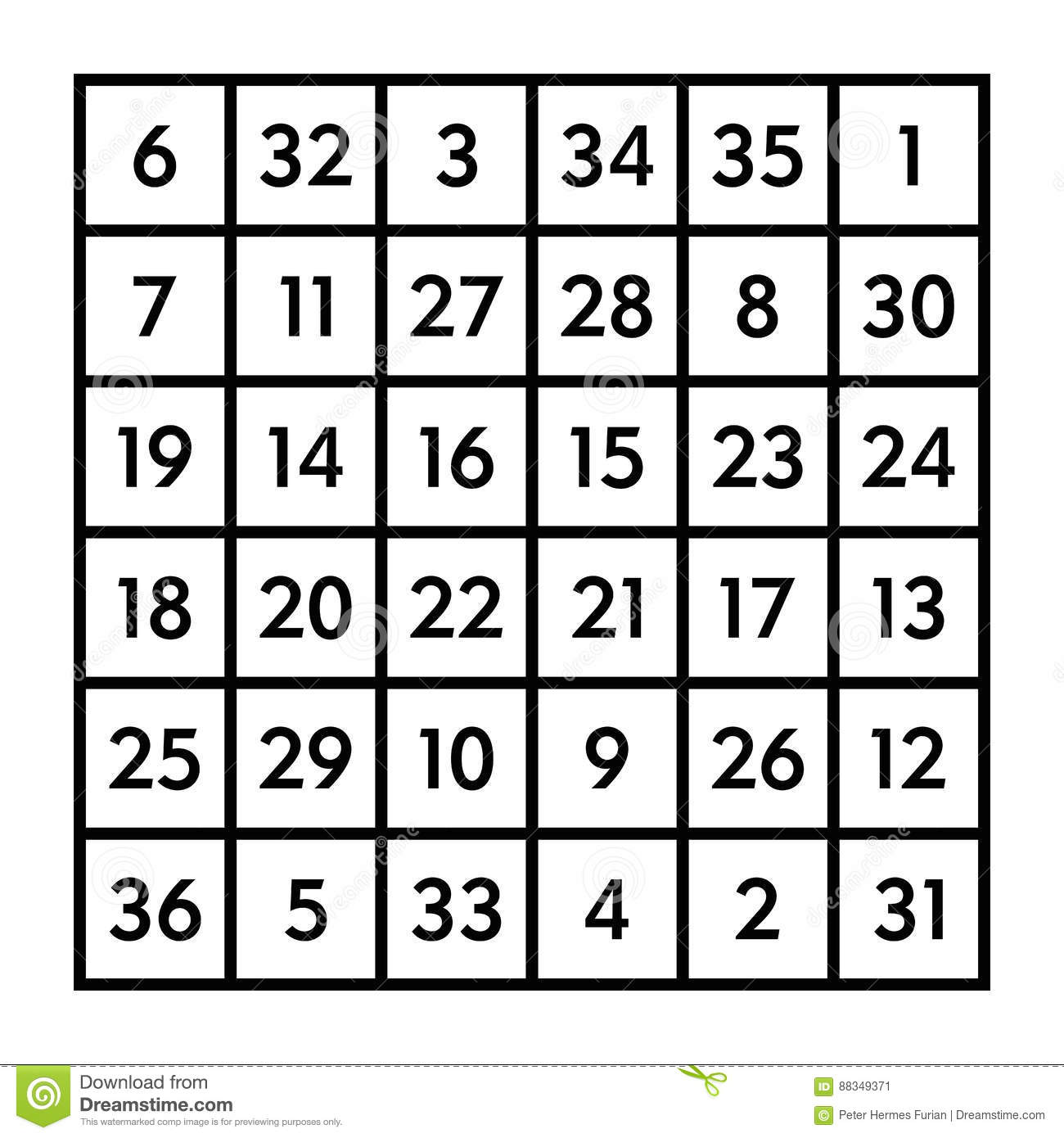 6x6 Magic Square With Sum 111 Of The Sun Stock Vector