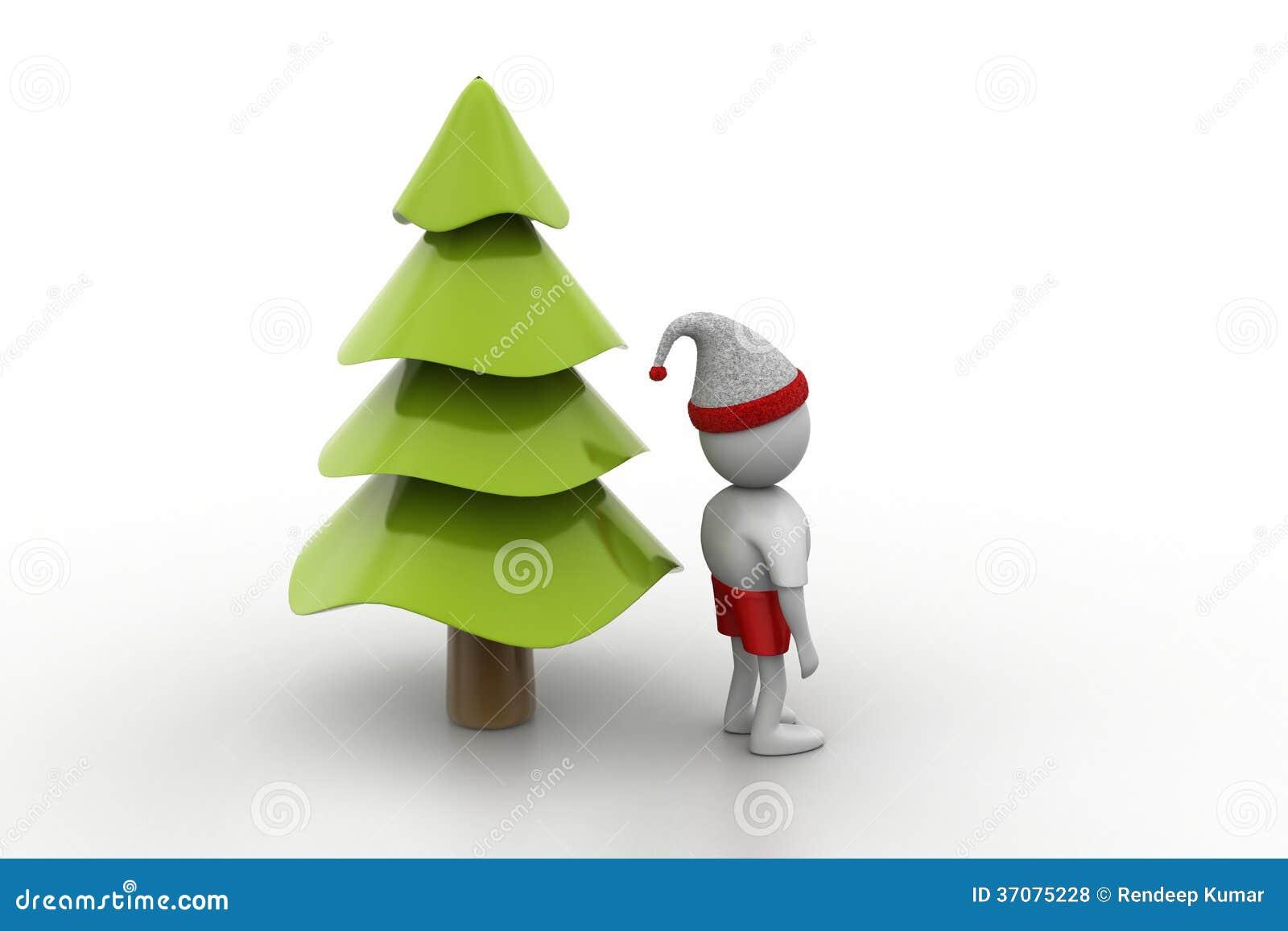 Download X Mas Drzewo I Santa Mężczyzna Ilustracji - Ilustracja złożonej z pozycja, dekoracje: 37075228