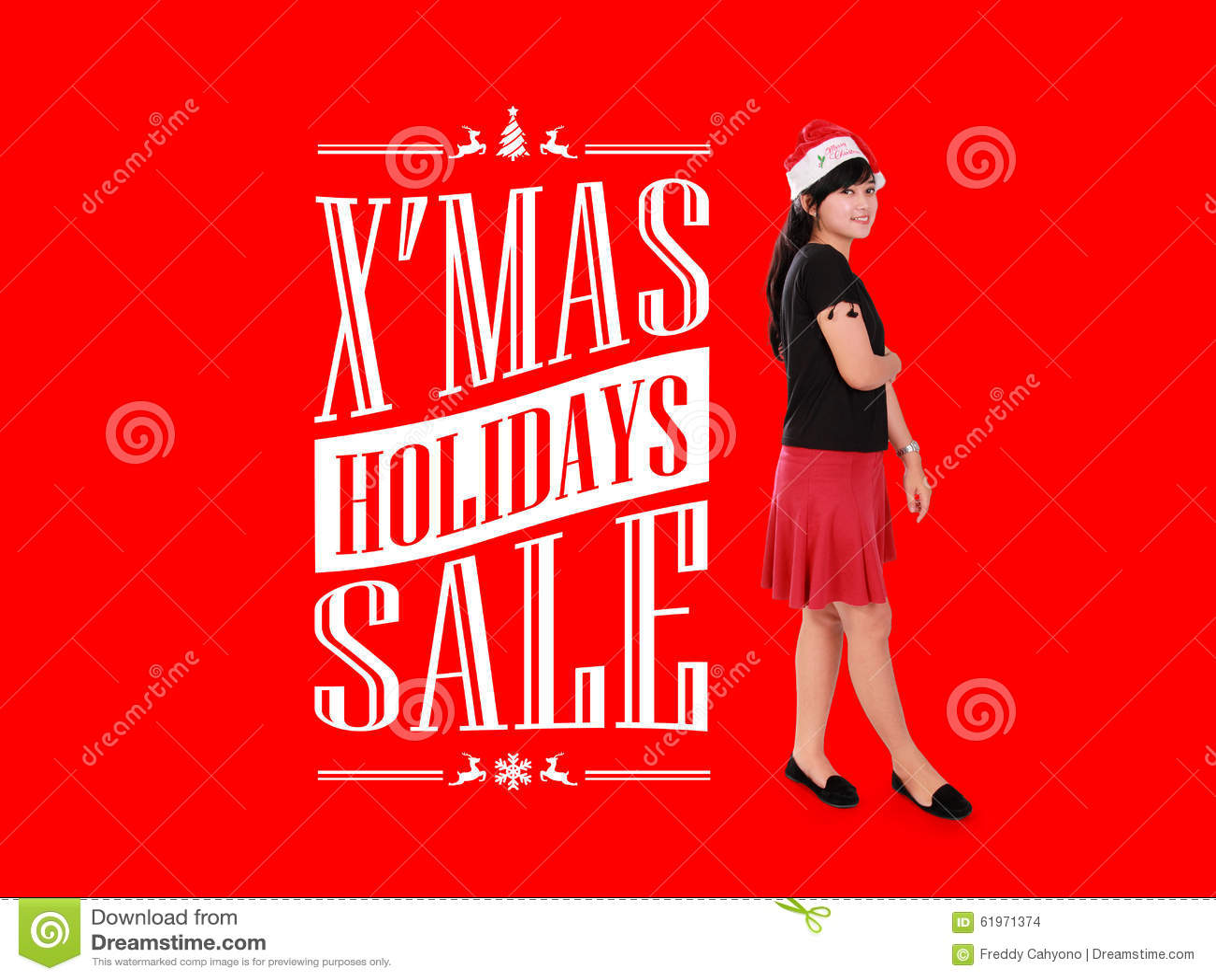 X Mas Holiday Sale Ad Illustration
