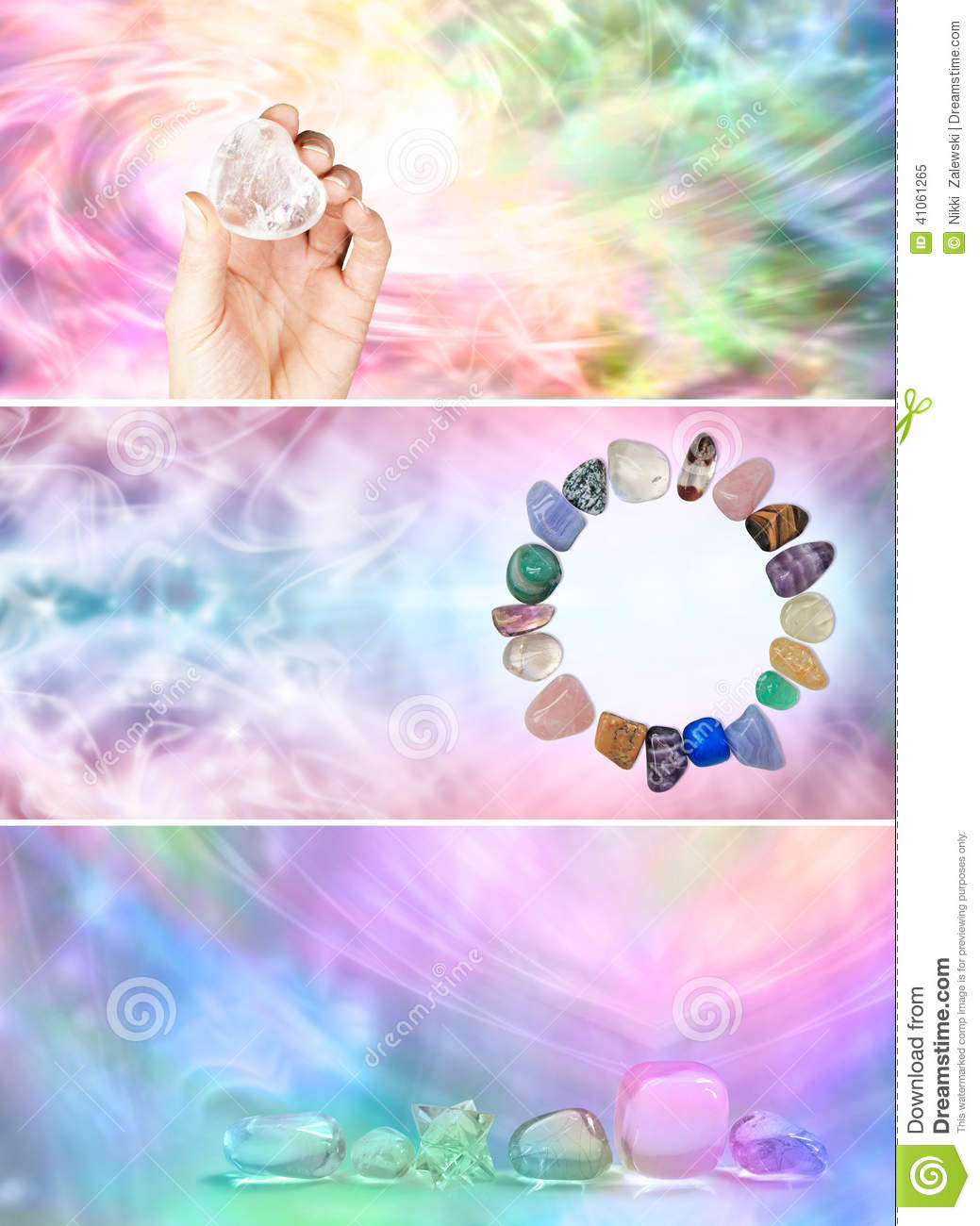 3 X Rainbow Crystal Healing Website Banners Stock Photo