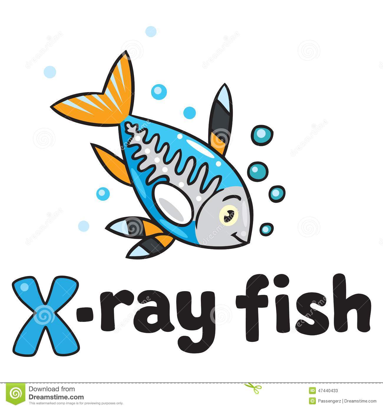 x ray fish for abc alphabet x stock vector image 47440433