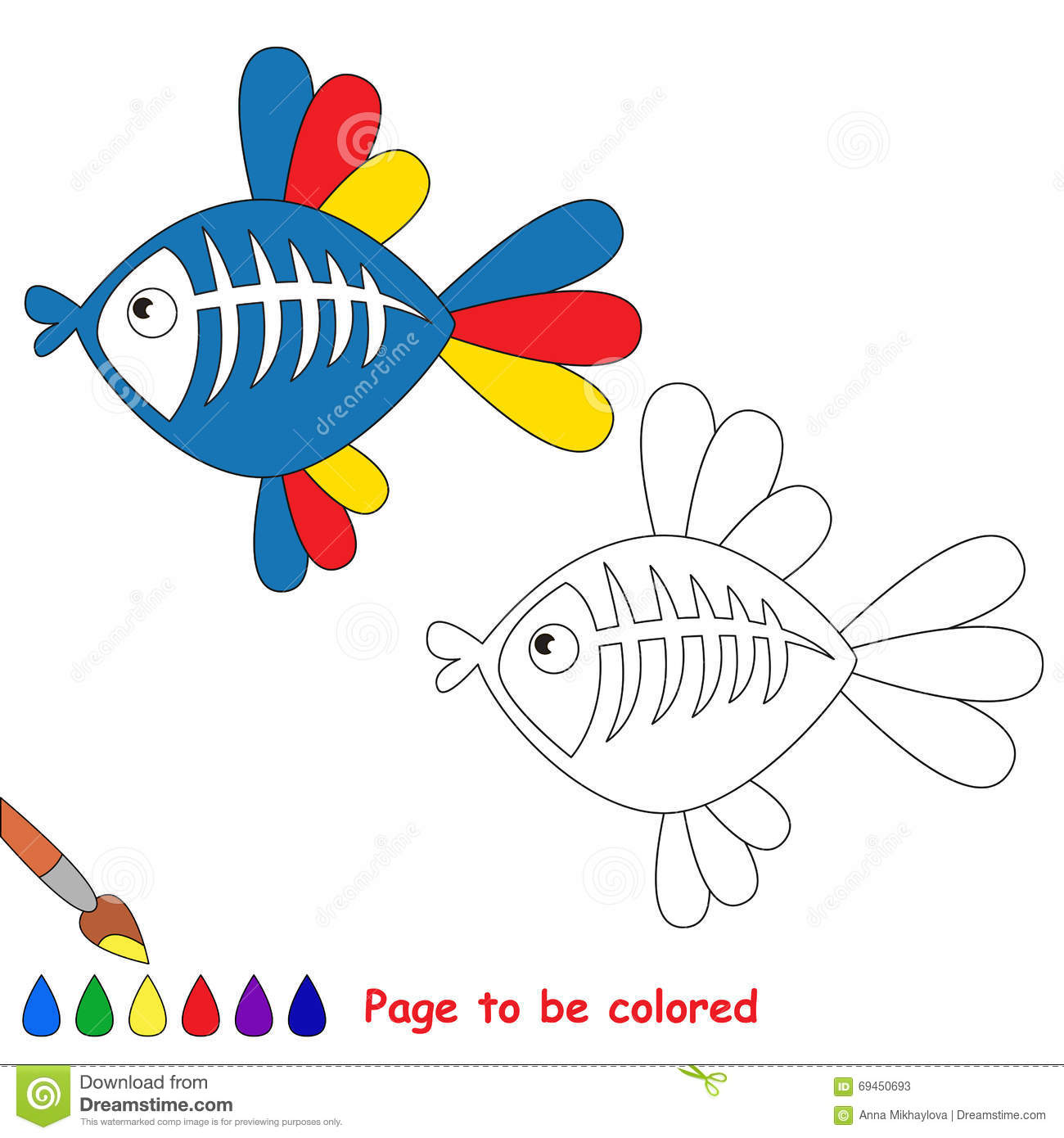 X Ray Fish Cartoon Page To Be Colored Stock Vector