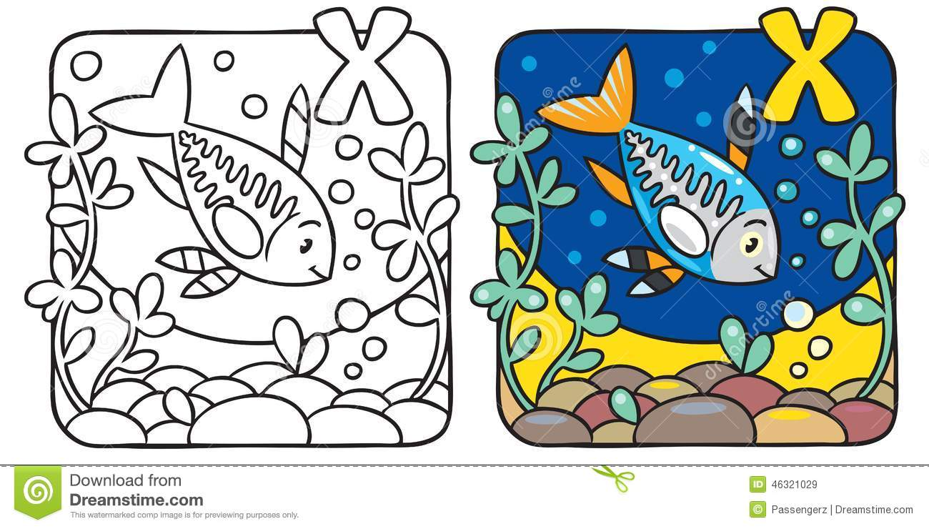 x ray fish coloring book alphabet x stock vector image 46321029