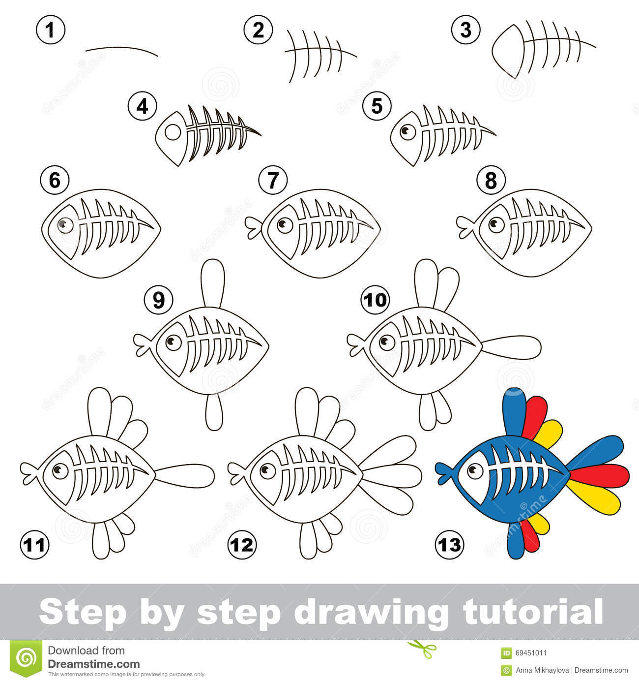 Xray Fish Drawing Tutorial Stock Image
