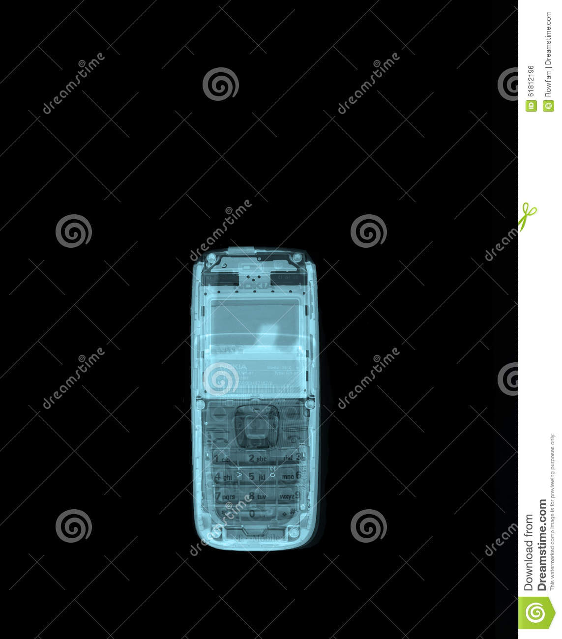 X-ray of a mobile phone editorial photo  Image of isolated