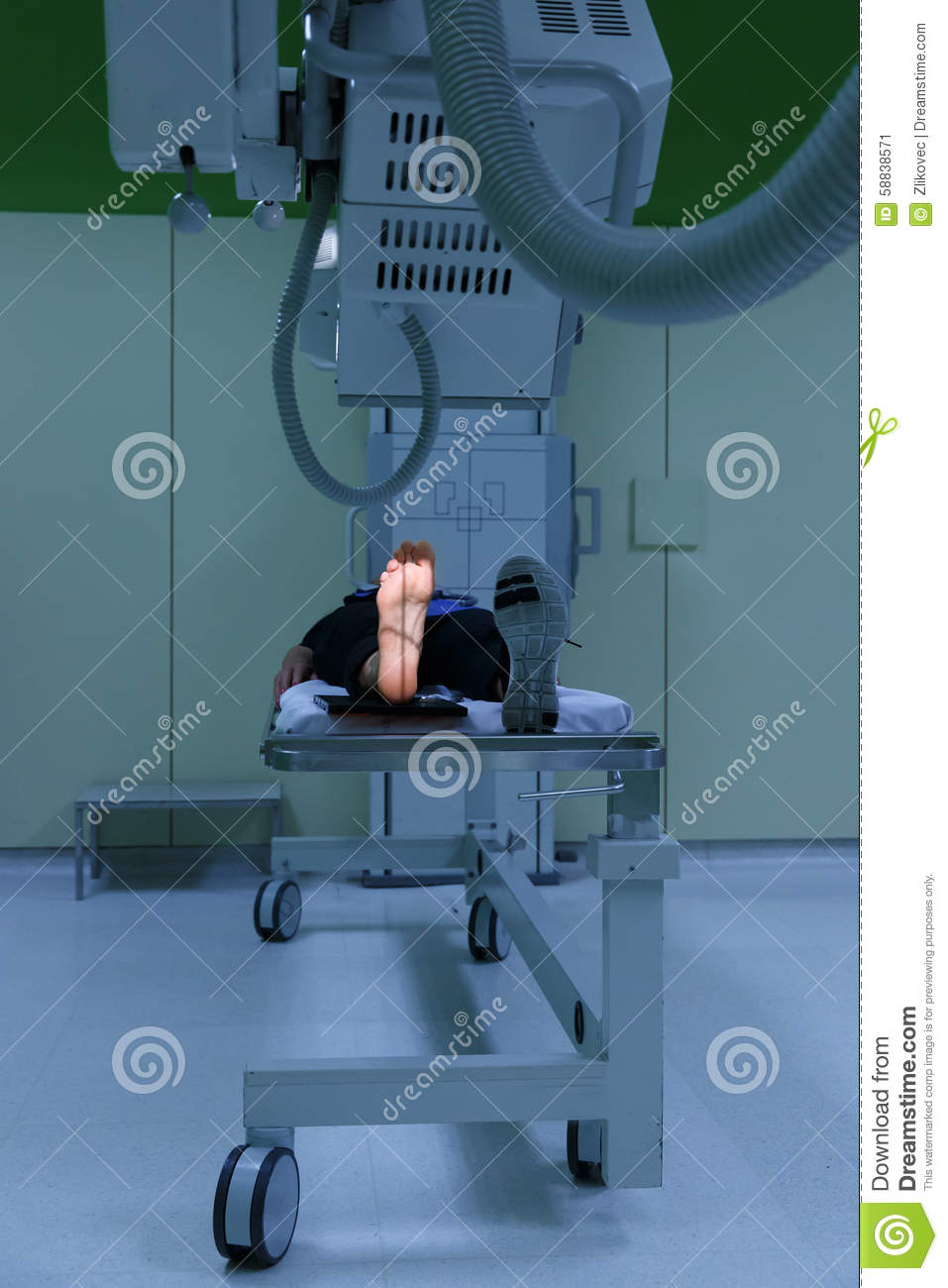 Hospital Procedure Room: X-ray Picture Of A Womans Foot (sole) Being Taken Stock