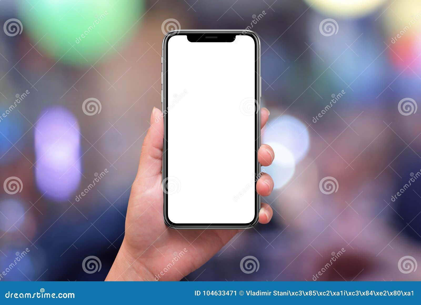 Download X Telefoon Met Het Gebogen Scherm In Vrouwenhand Stadslichten En Bokeh Op Achtergrond Stock Afbeelding - Afbeelding bestaande uit interface, nacht: 104633471
