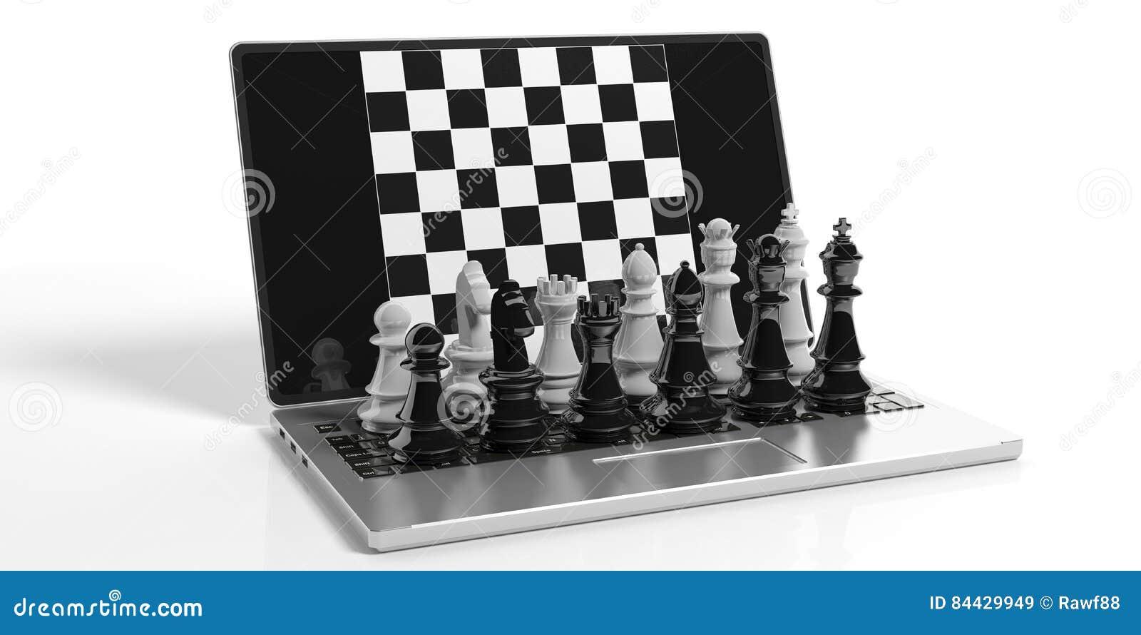 Xadrez da rendição 3d na tela do portátil