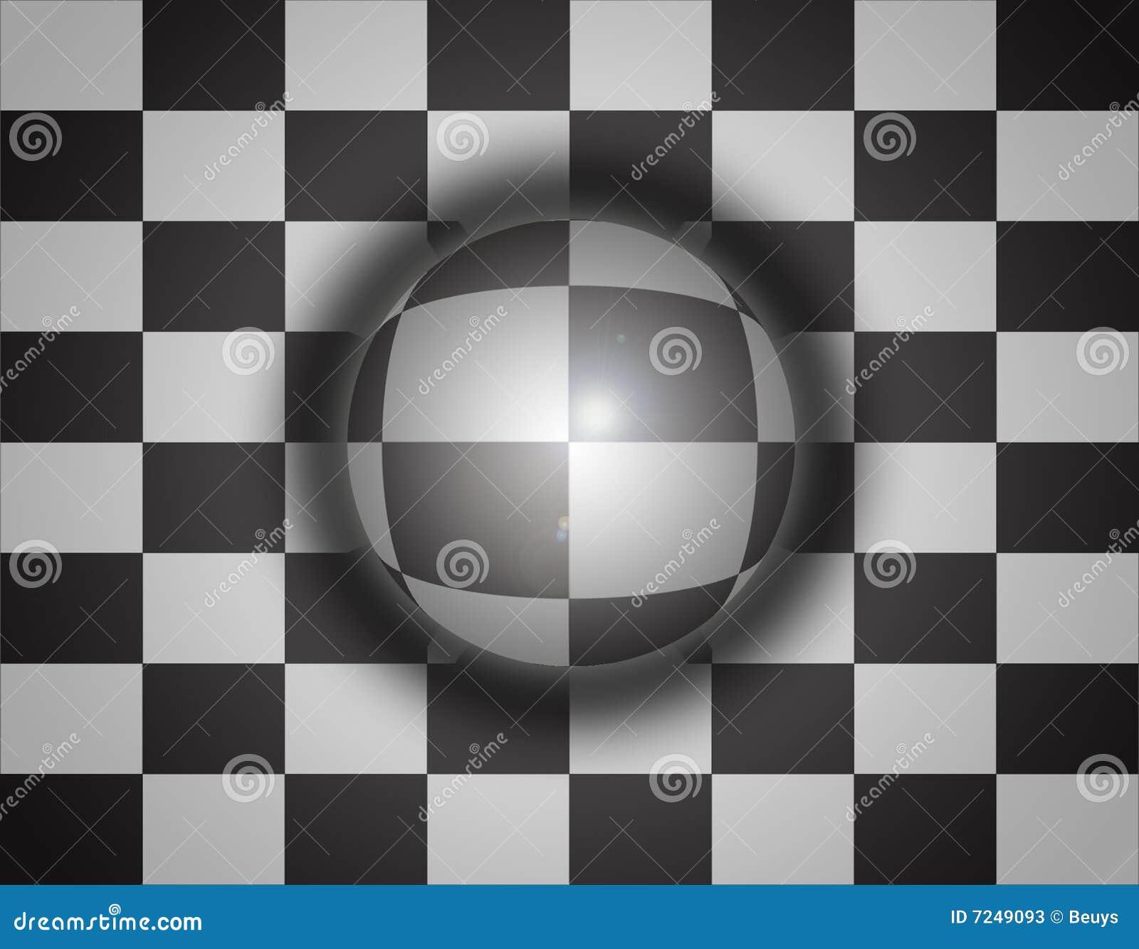Xadrez do fundo da esfera 3d
