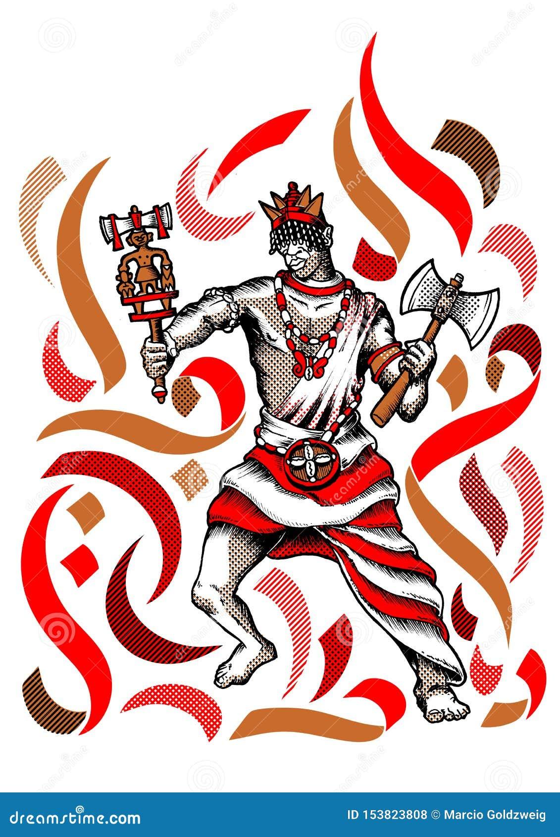 Xango Shango Orisha Orixa Mestre De Todo O Orishas Ilustracao