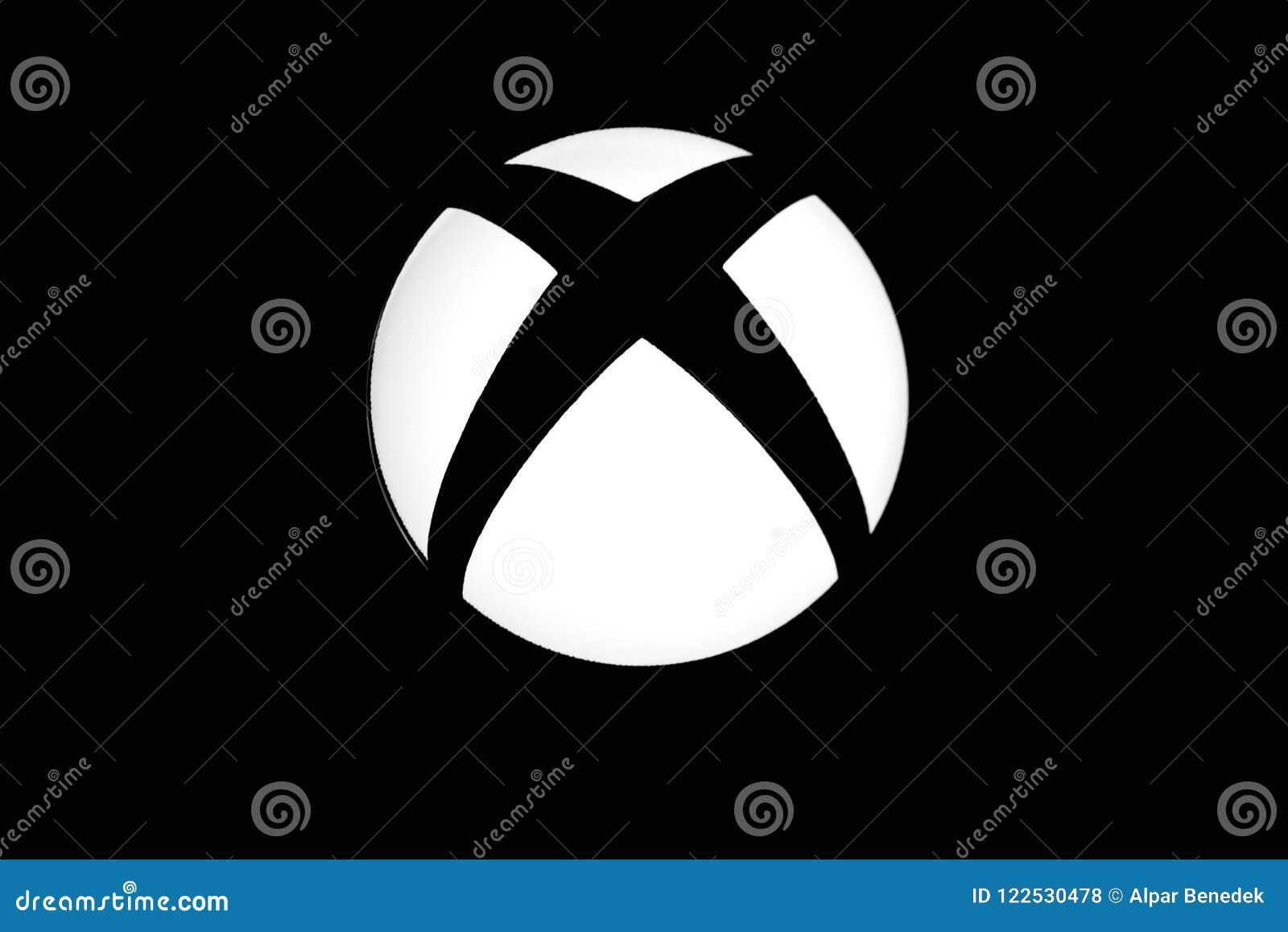 Xbox één dicht van het videospelletjeembleem omhoog geschoten in zwart-wit